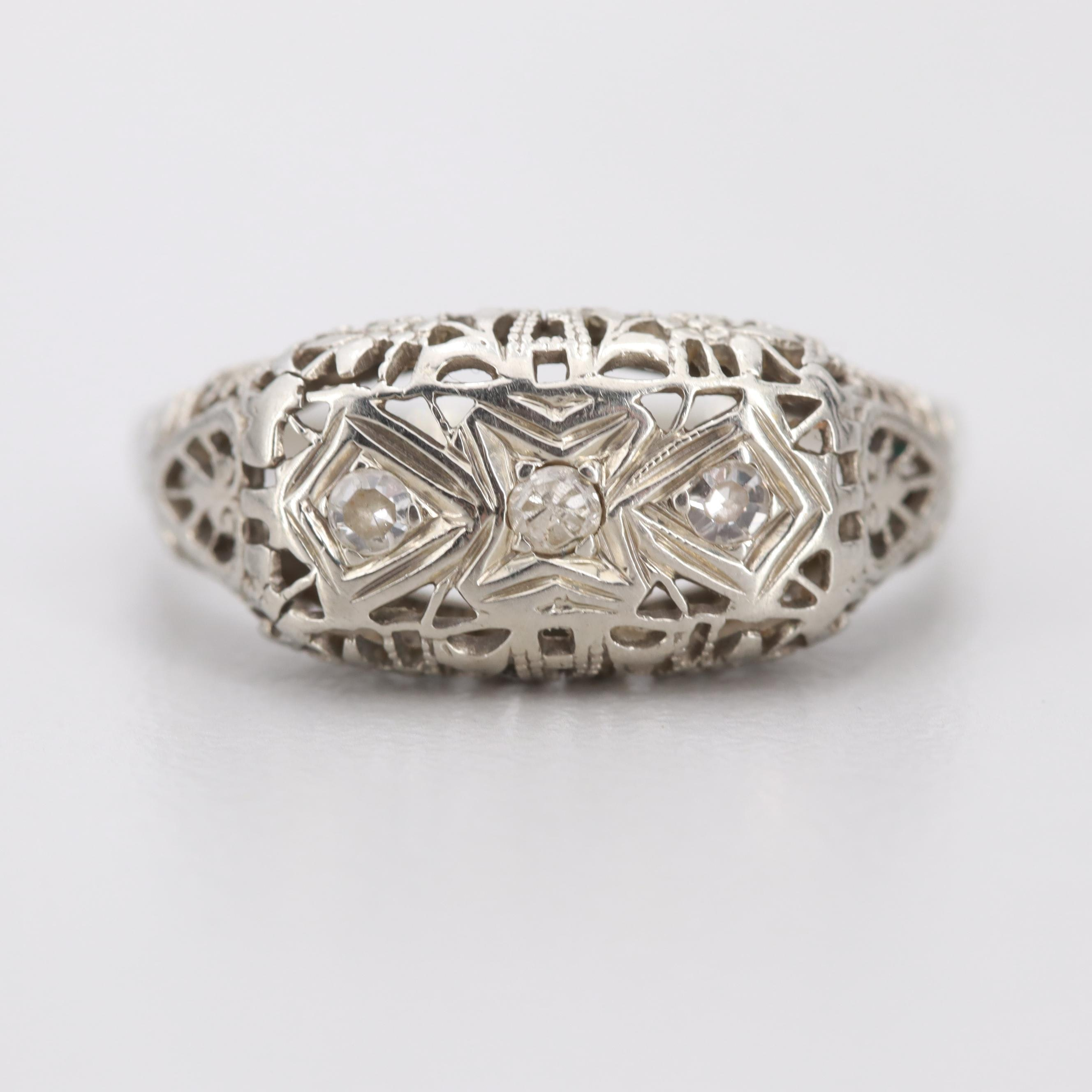 Vintage 18K White Gold Diamond Openwork Ring
