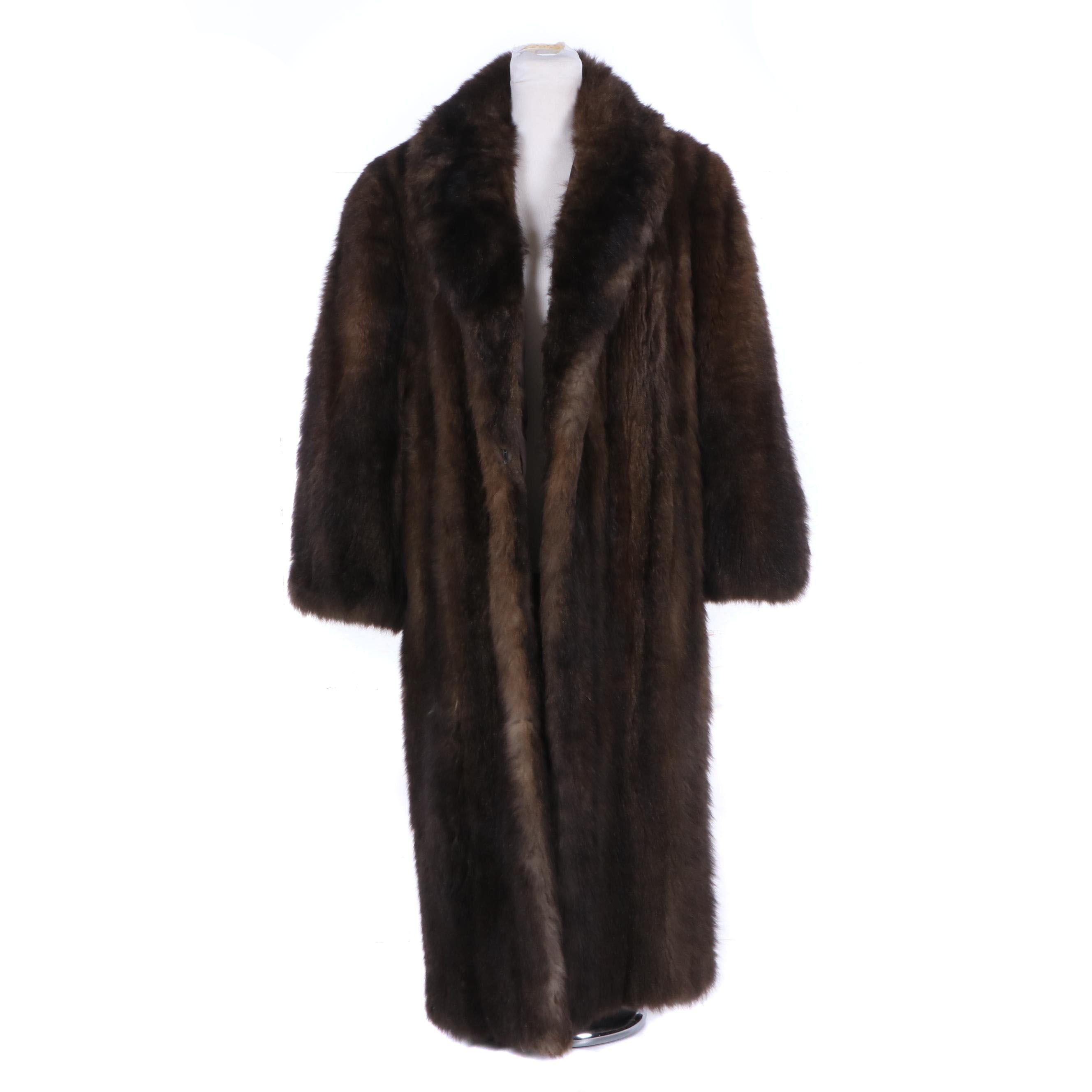 Women's Vintage Full-Length Brown Opossum Fur Coat