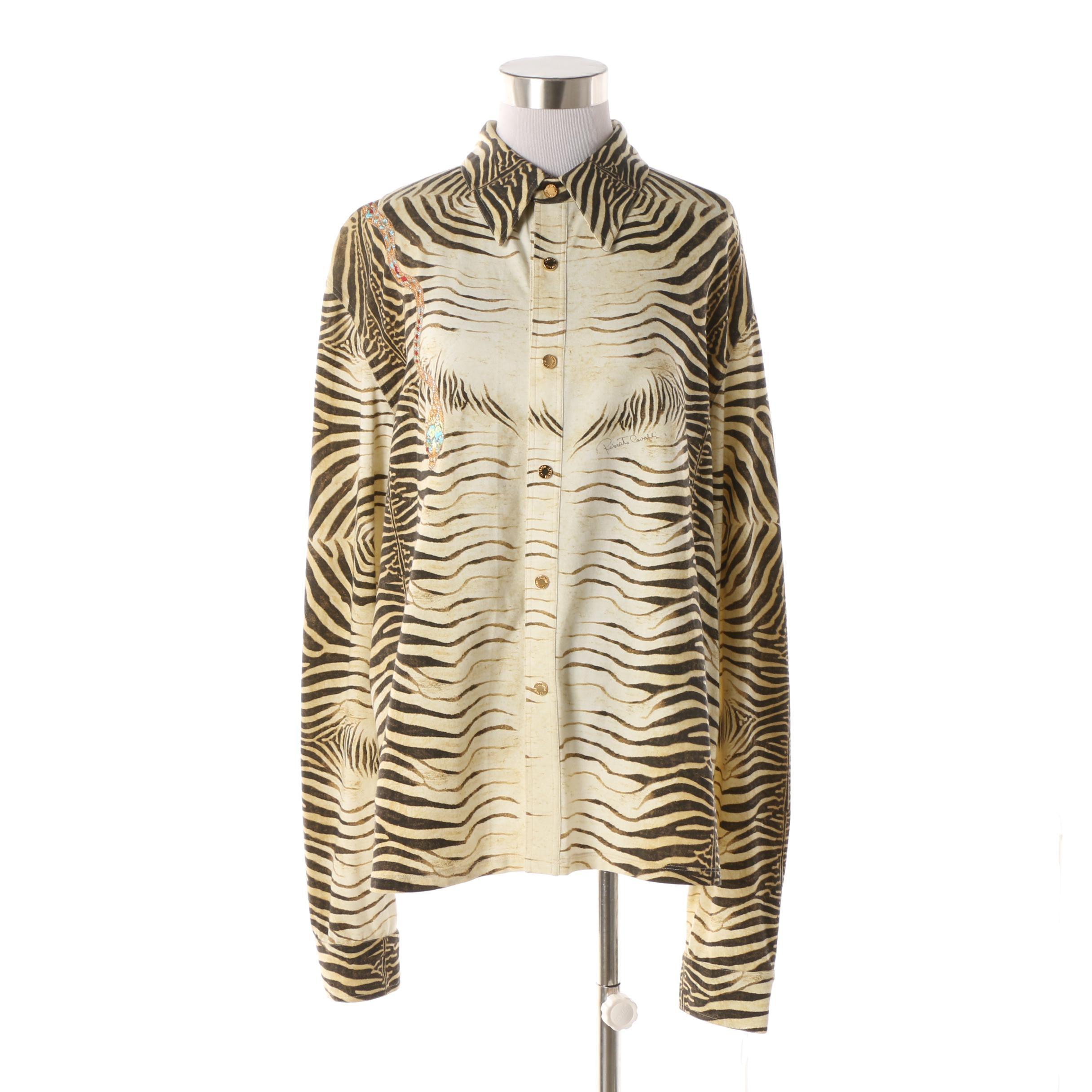 Men's Roberto Cavalli Embellished Zebra Print Shirt