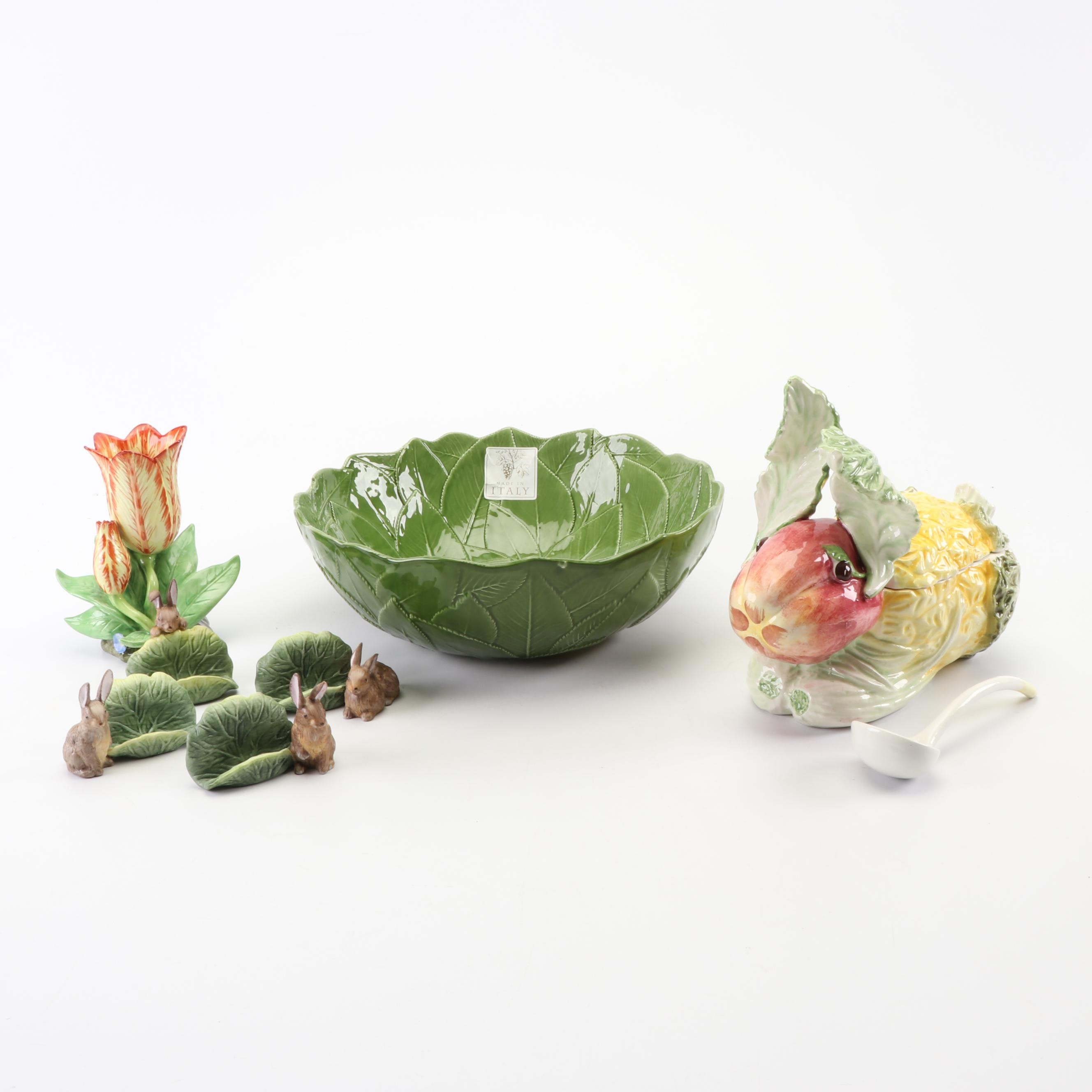 Hand-Painted Rabbit and Lettuce Themed Porcelain Serverware including Mottahedeh