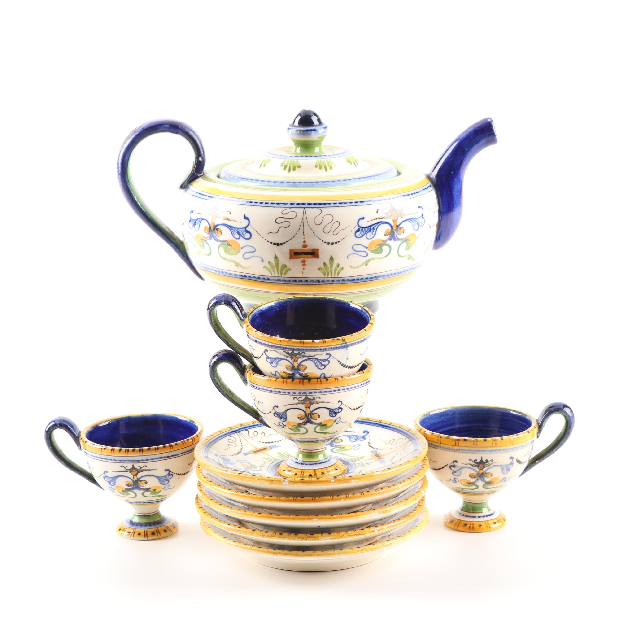 Hand-Painted Italian Faience Teapot, Footed Cups, and Saucers