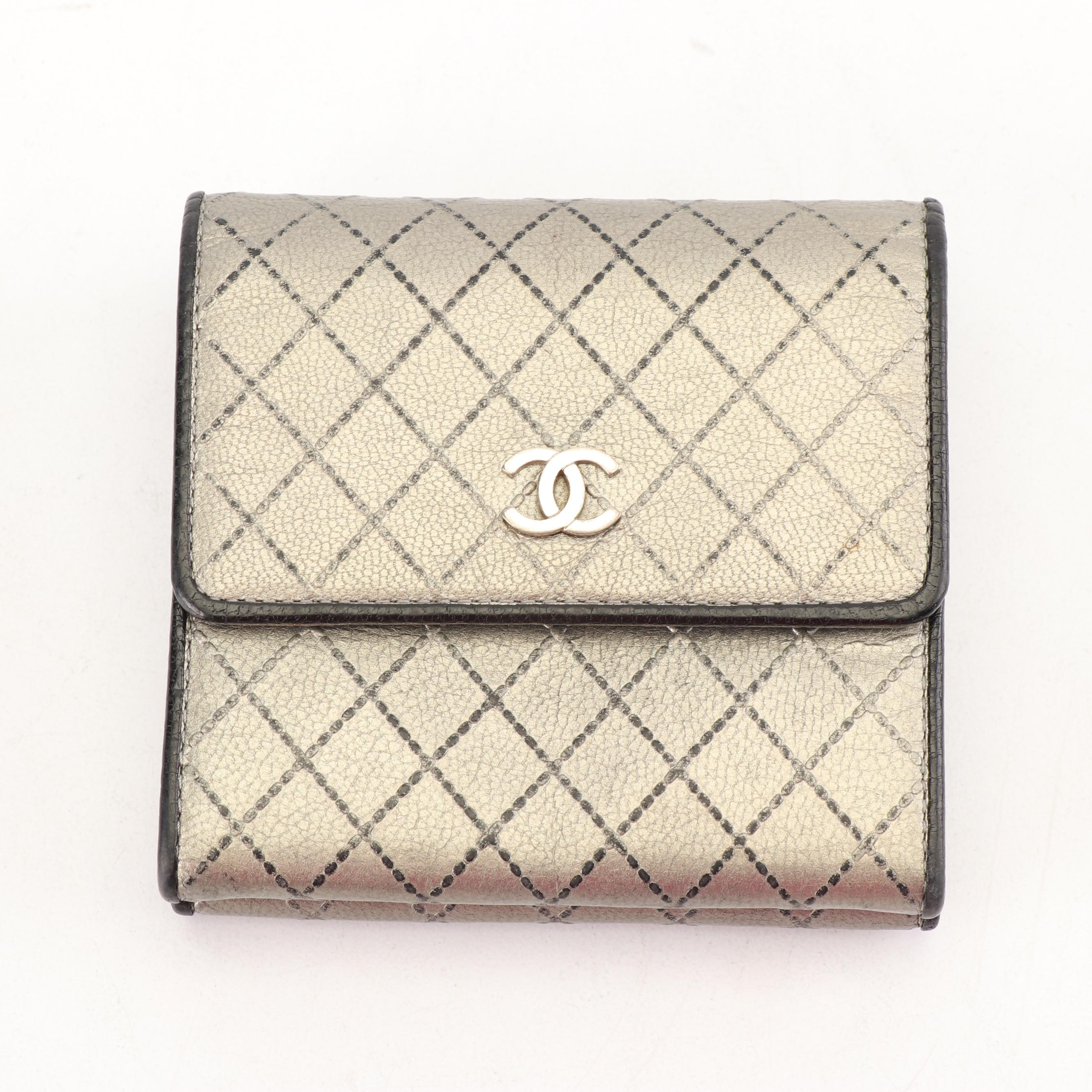 Vintage Chanel Quilted Pattern Metallic Lambskin Double-Sided Wallet