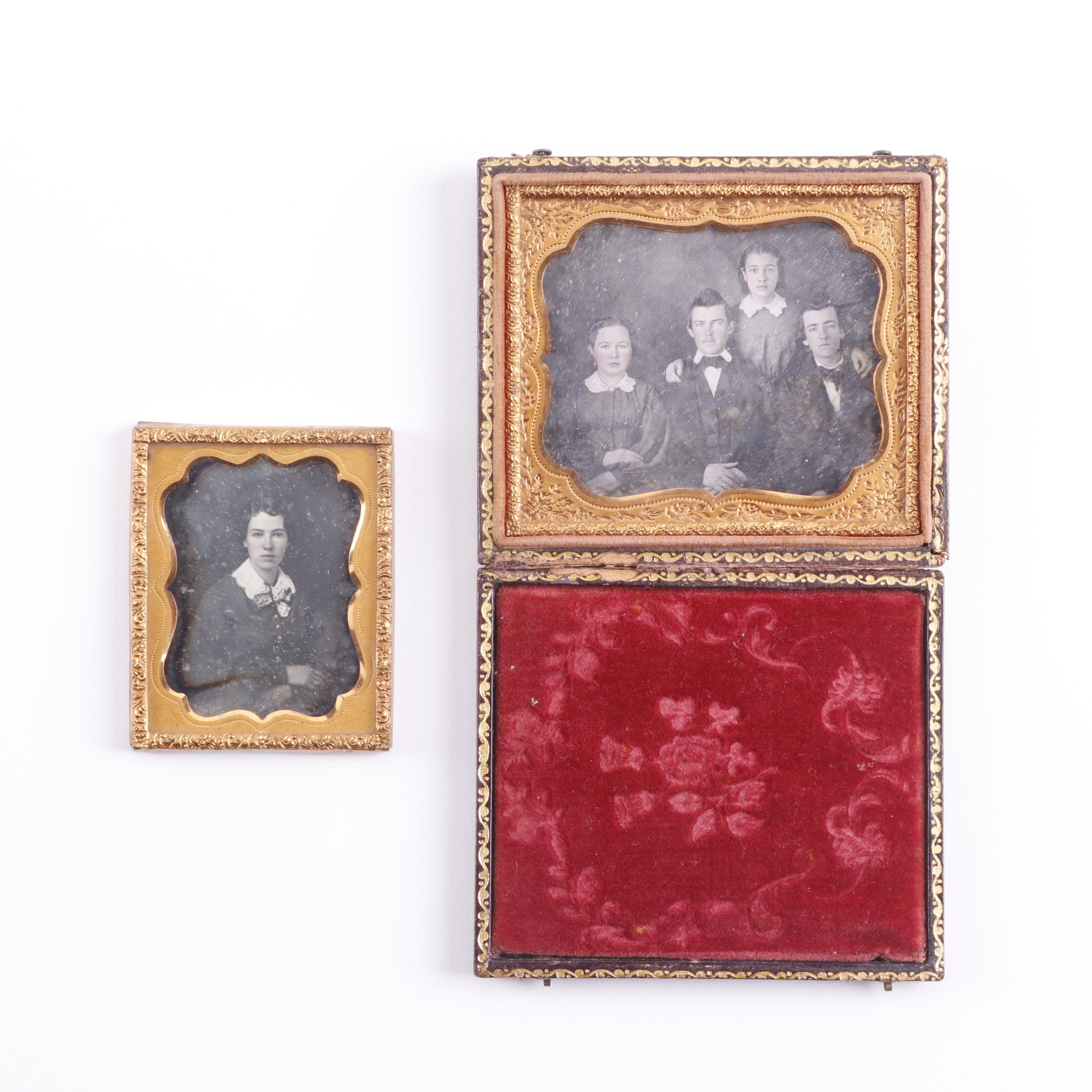 Sibling Daguerreotypes with Double Camera Backstamp