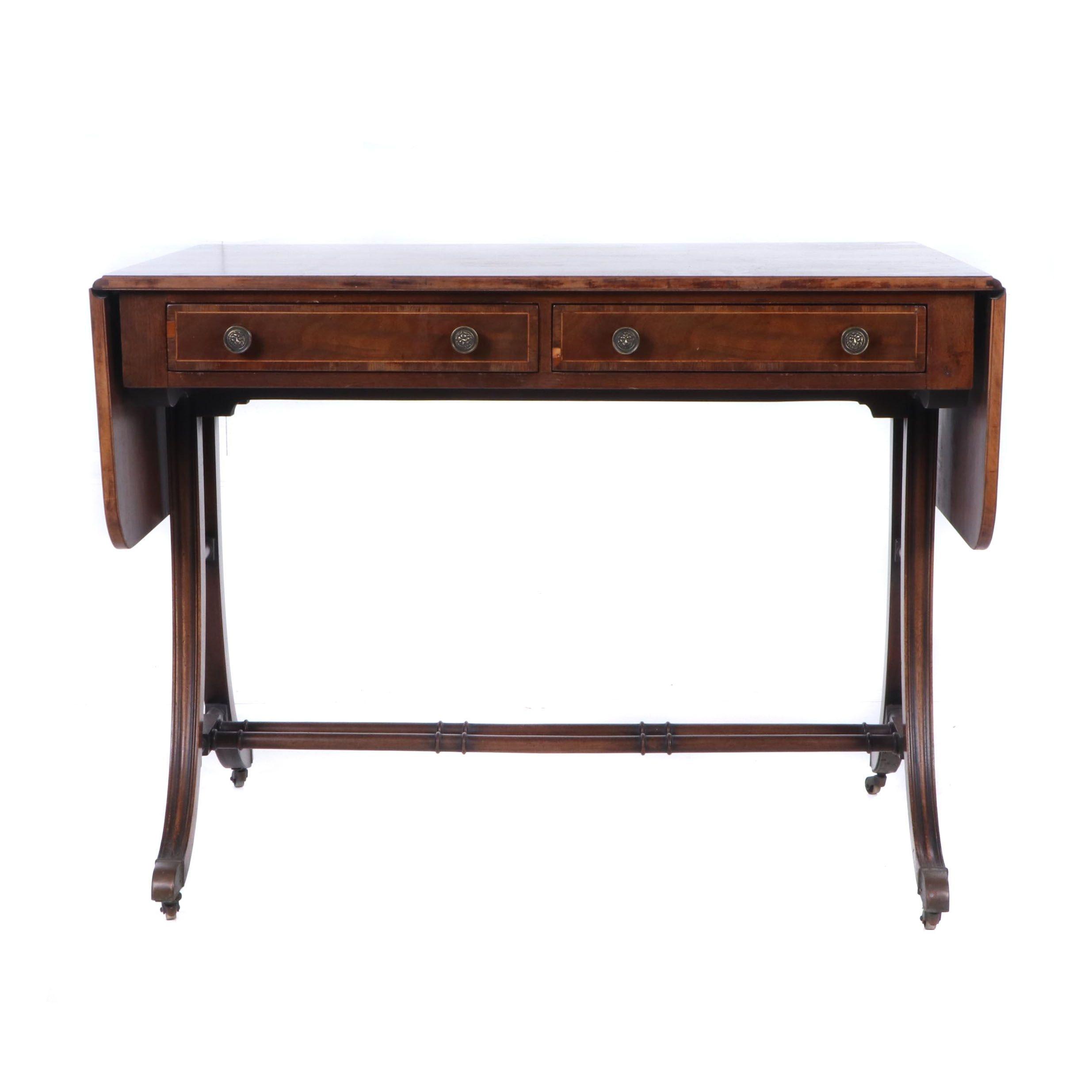 Regency Mahogany Drop Leaf Writing Table, Early 19th Century
