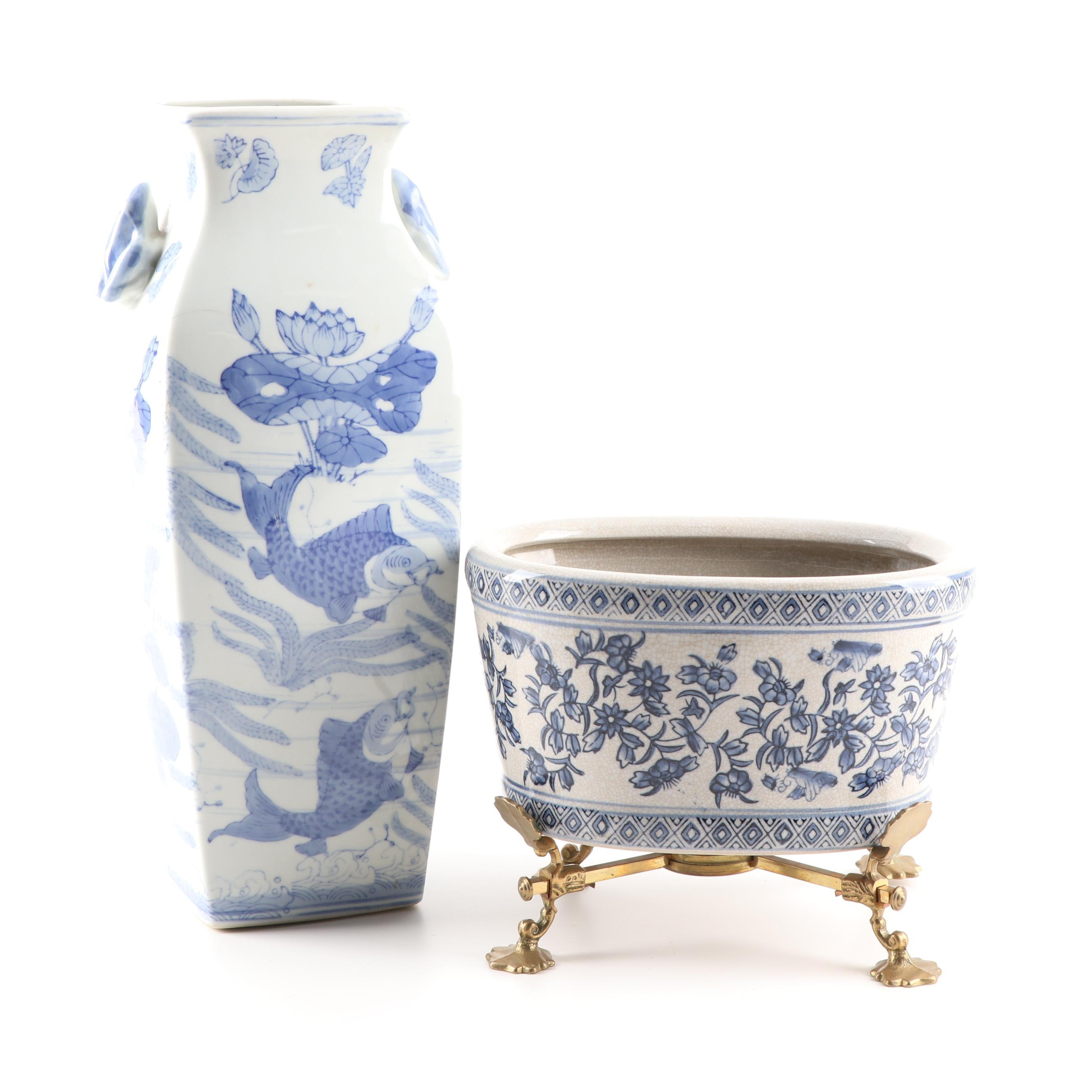 Chinese Porcelain Vase and Footbath with Metal Stand