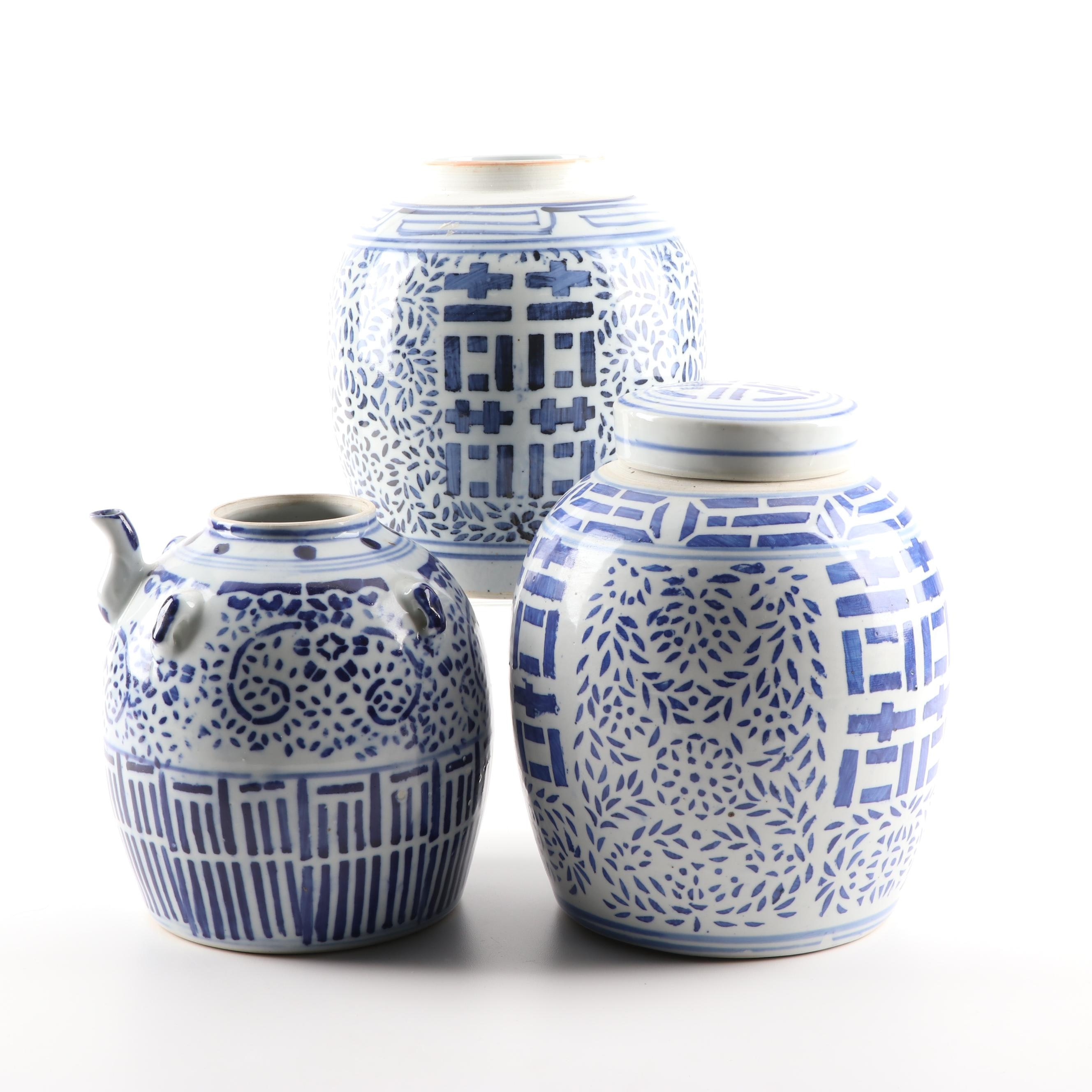 Chinese Ceramic Jars and a Jug