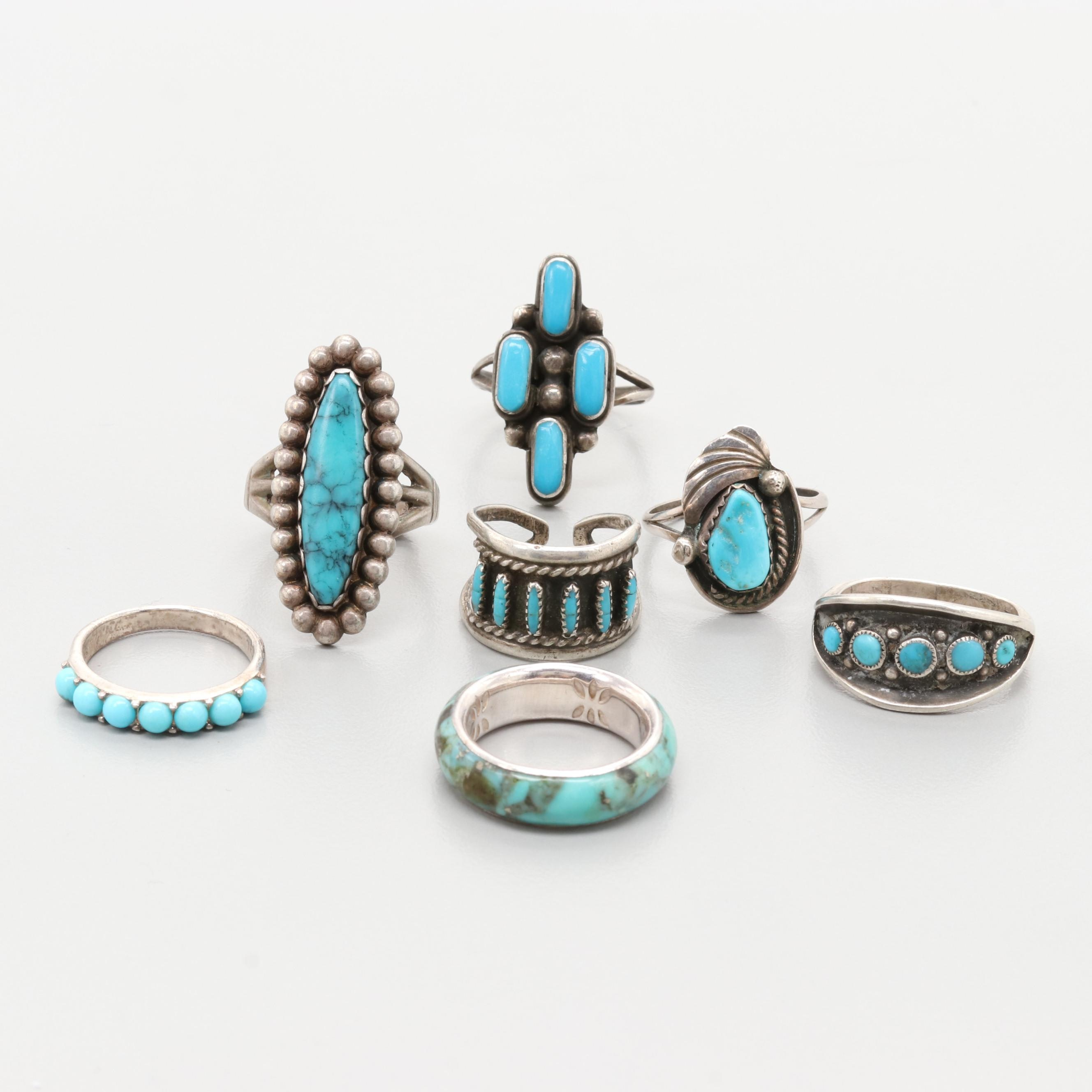 Sterling Turquoise and Imitation Stone Rings Including Justin Morris Navajo Diné