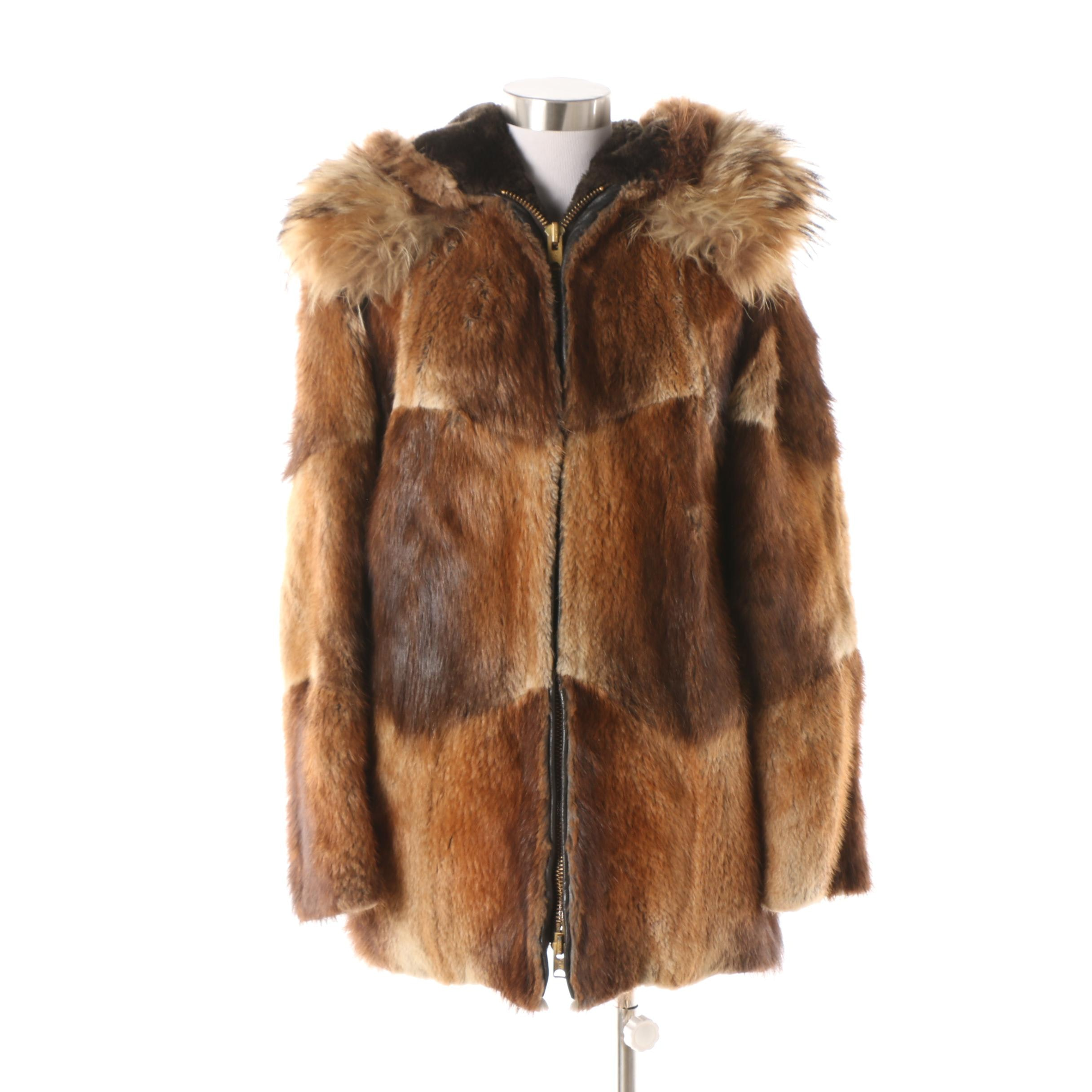 Vintage David Green Anchorage Beaver Fur Jacket with Coyote Fur Trim Hood