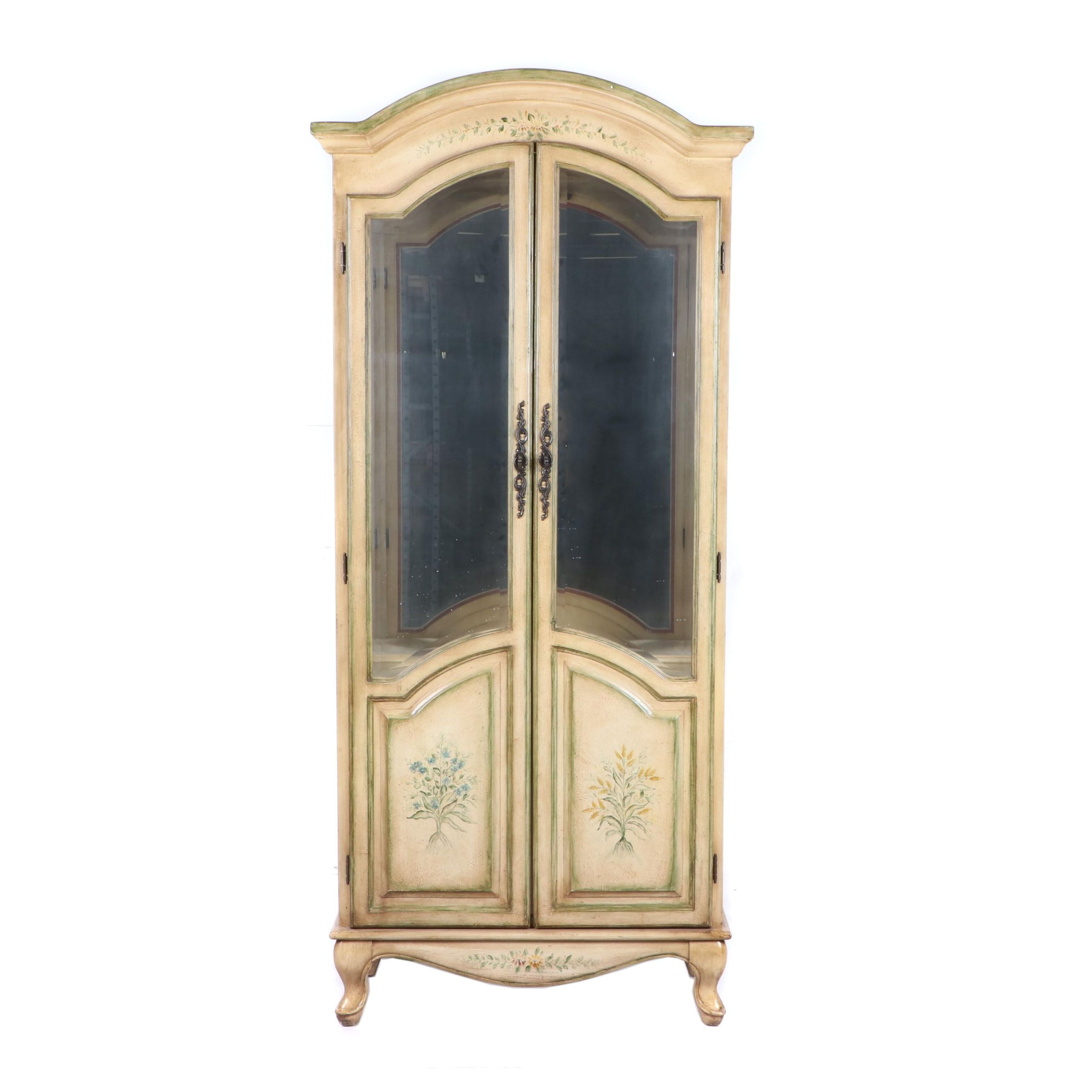 French Provincial Style Painted Wood Illuminated Display Cabinet, 20th Century