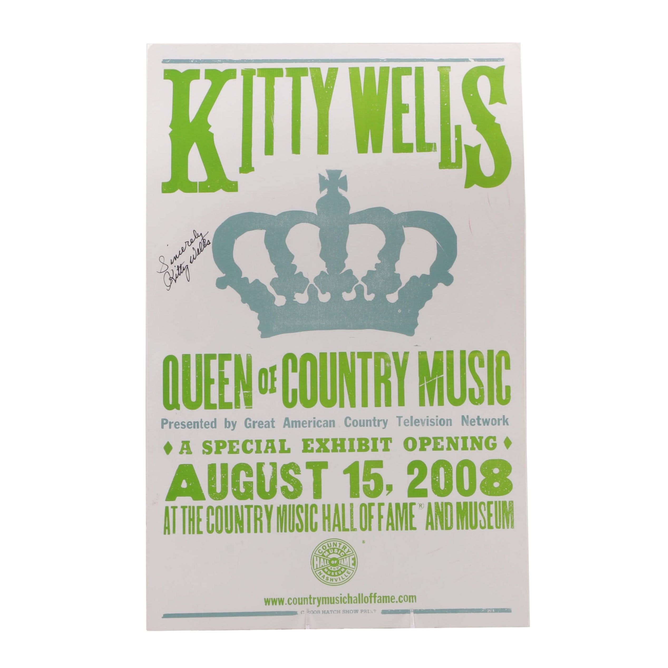 "Kitty Wells ""Queen of Country Music"" Autographed Concert Poster"