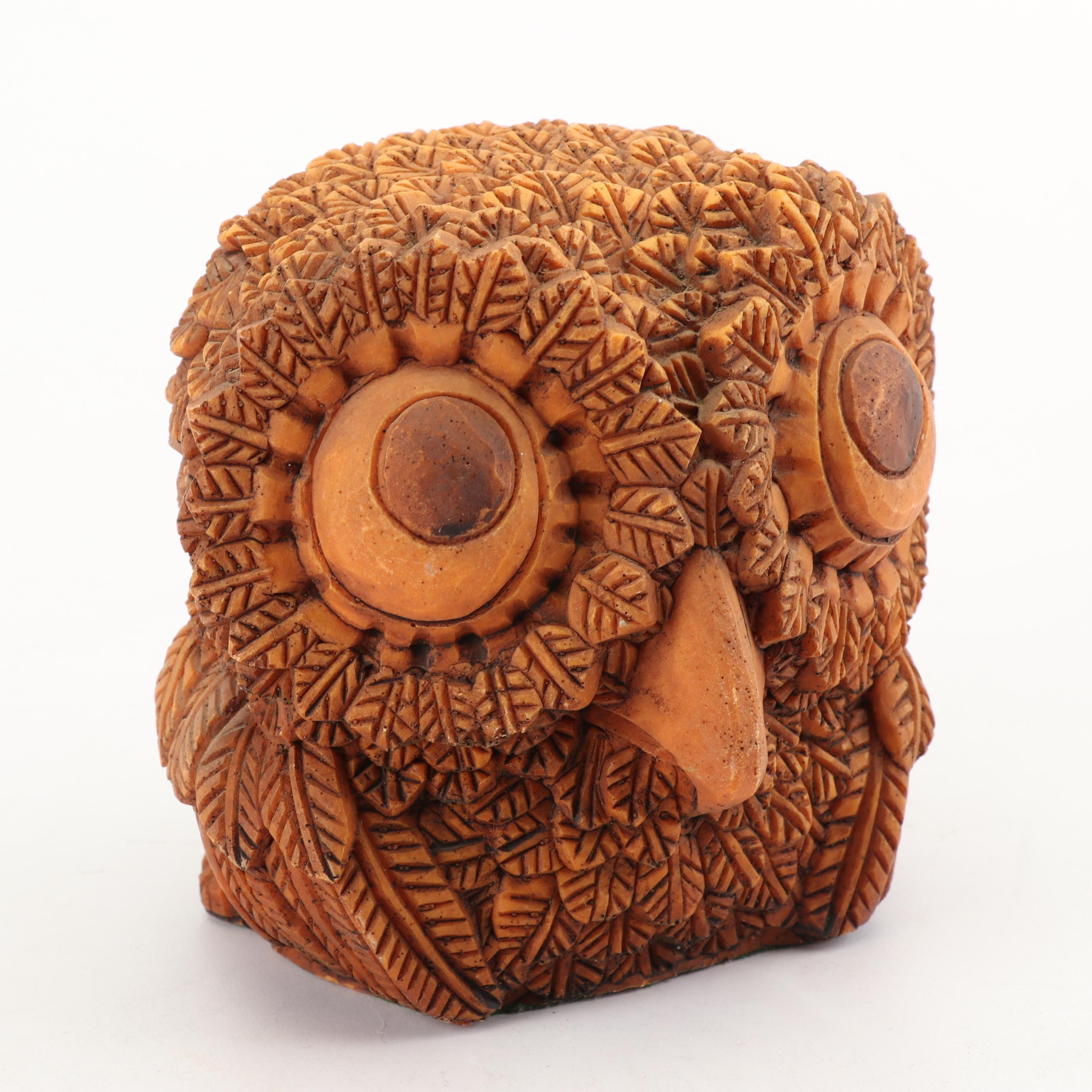 Cast Resin Owl Figurine, circa 1970