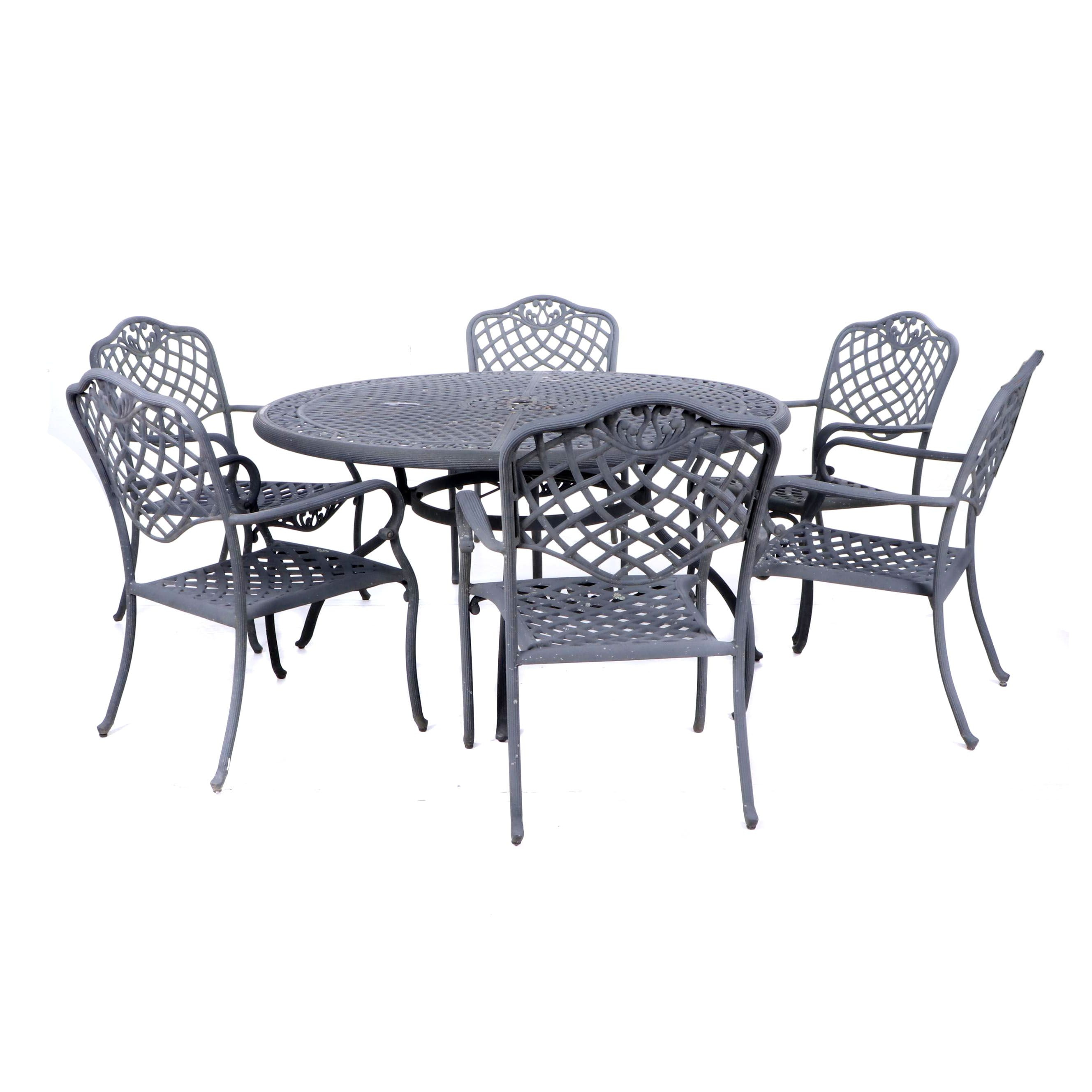 Contemporary Metal Patio Table and Six Chairs