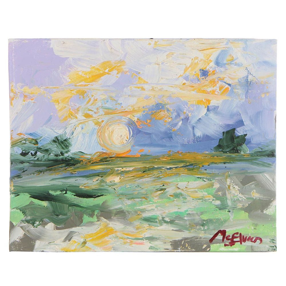 "Claire McElveen Abstract Landscape Oil Painting ""Marsh Gold"""""