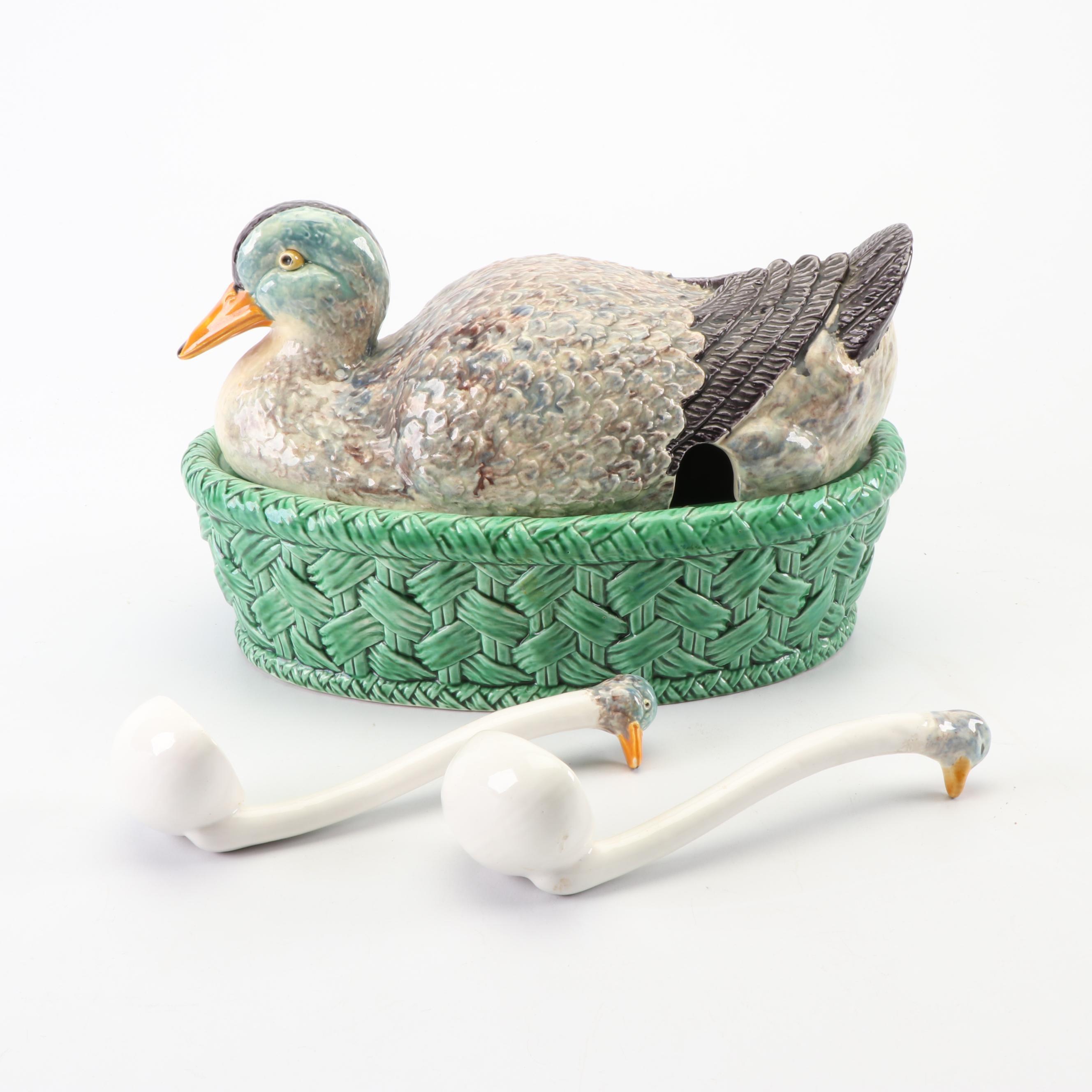 Bordallo Pinheiro Duck Tureen with Ladles
