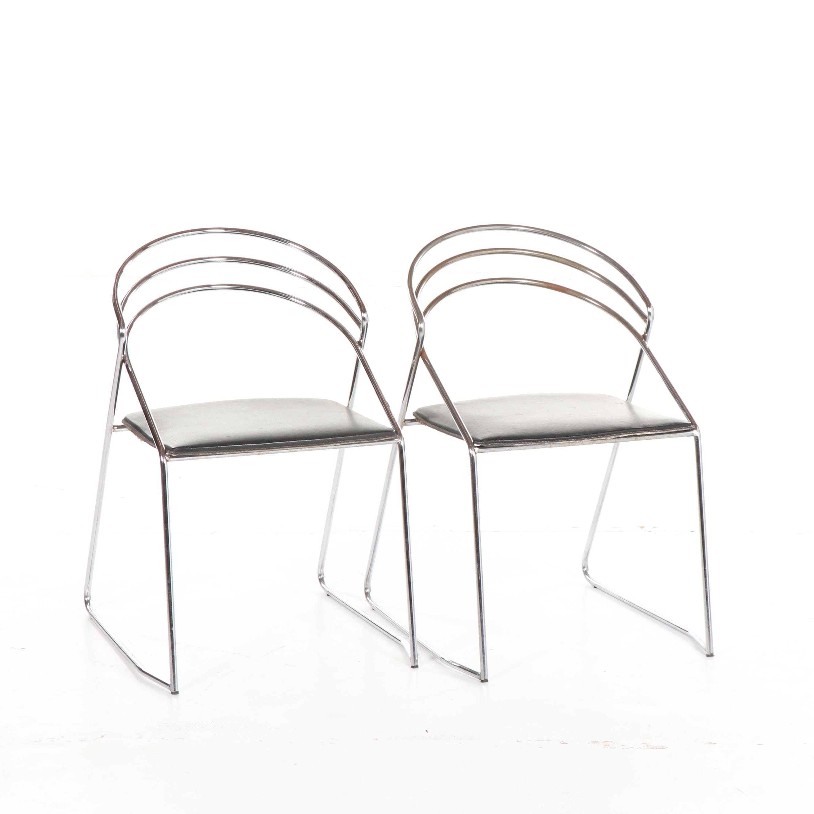Mid Century Modern Bent Metal Chairs, Mid-20th Century