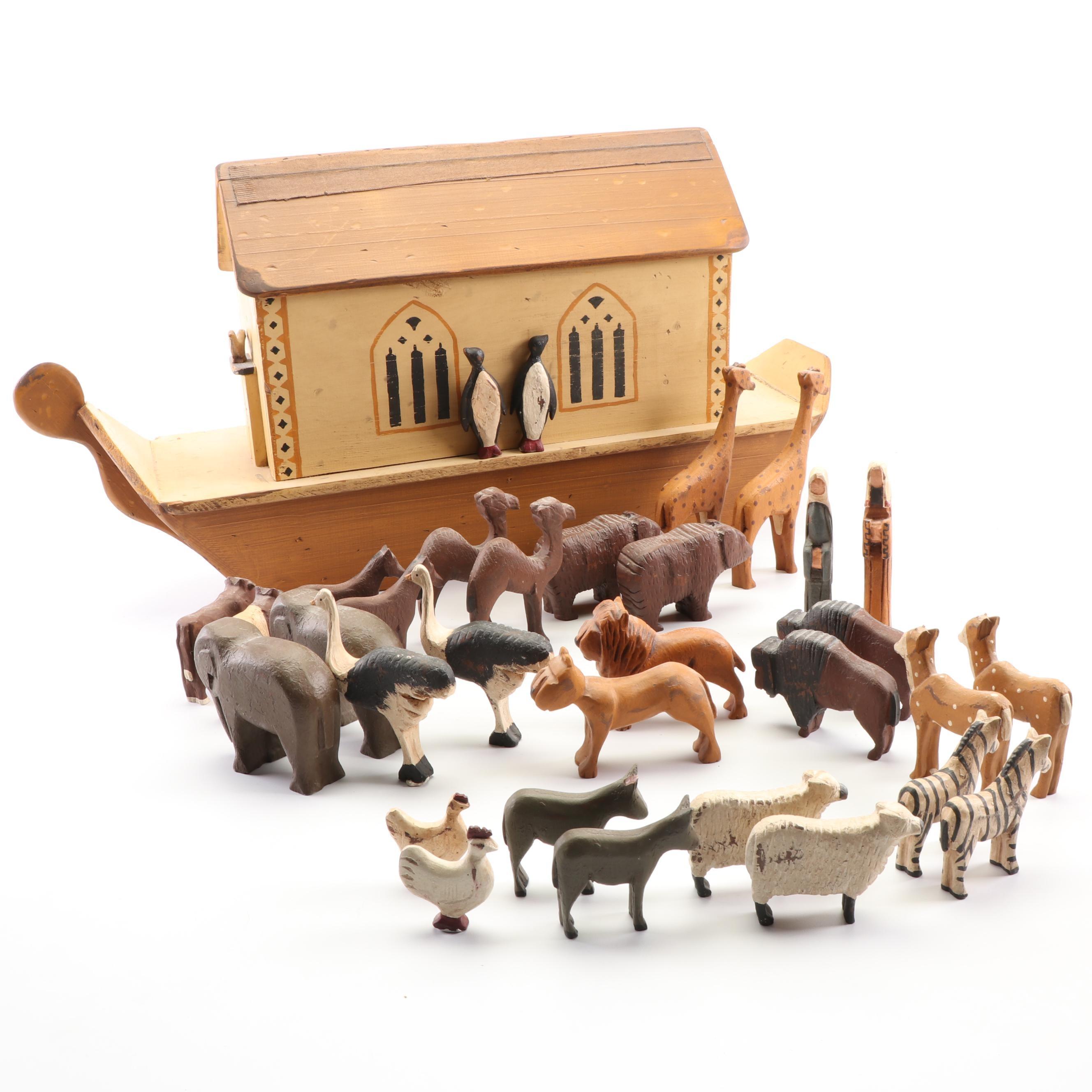 "Royston & Co. Painted Wood ""Noah's Ark"" Figurine Set, Late 20th Century"