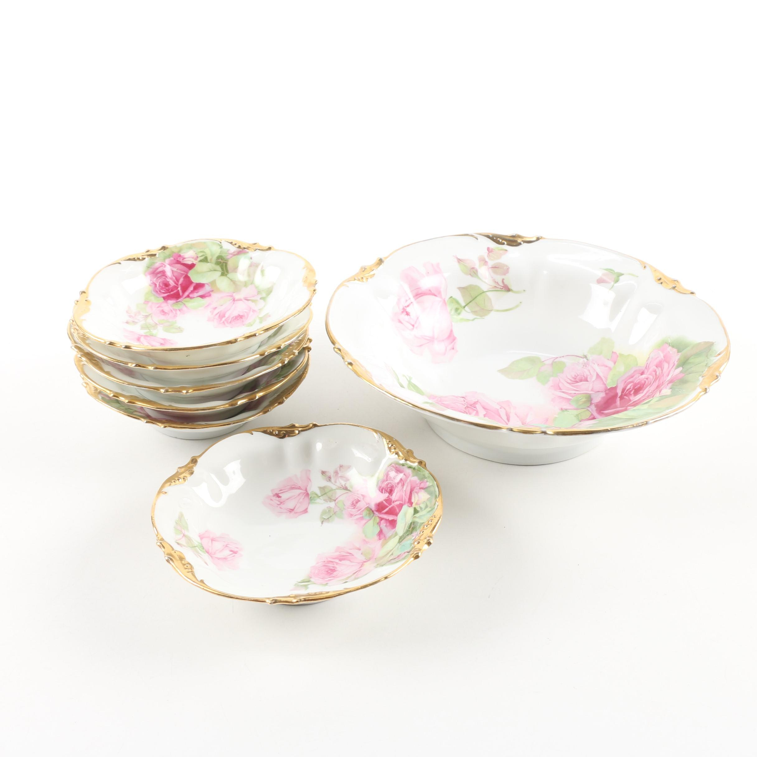Erdmann Schlegelmilch Porcelain Ice Cream Bowl Set, circa 1902-18