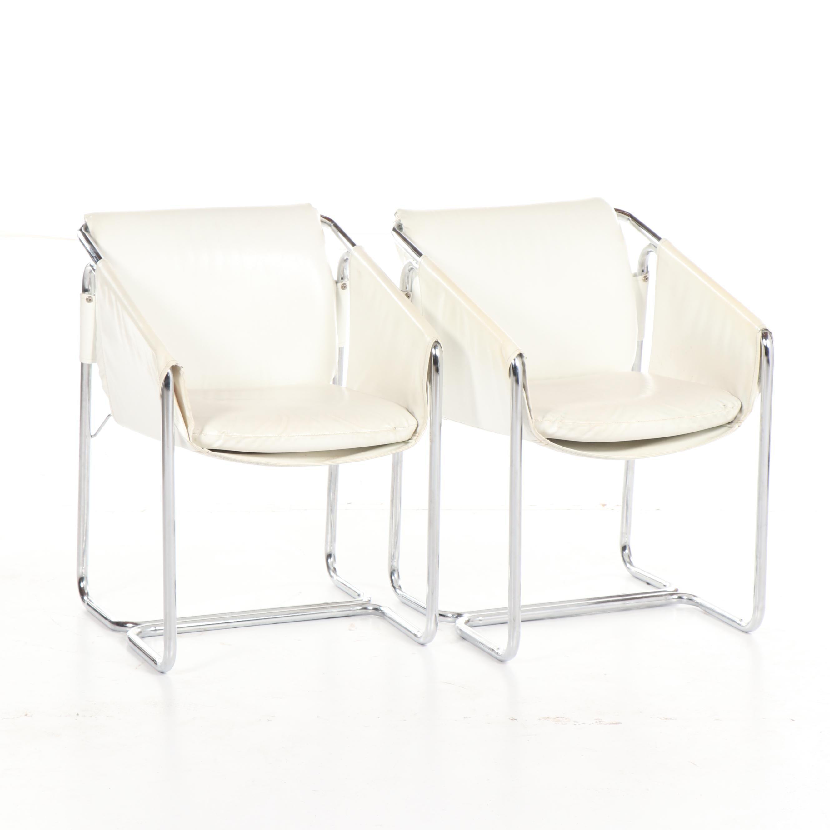Mid Century Modern Vinyl Sling Bent Chrome Armchairs, 20th Century