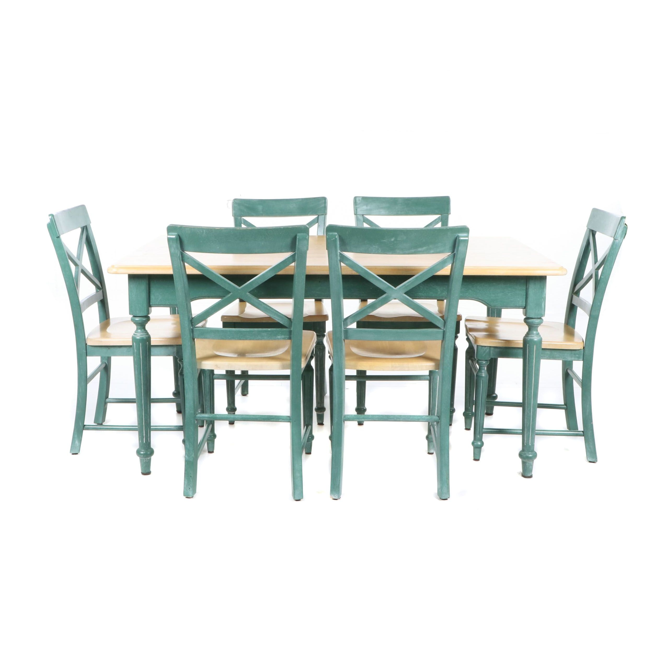 Painted Wood Dining Table and Six Chairs, 21st Century