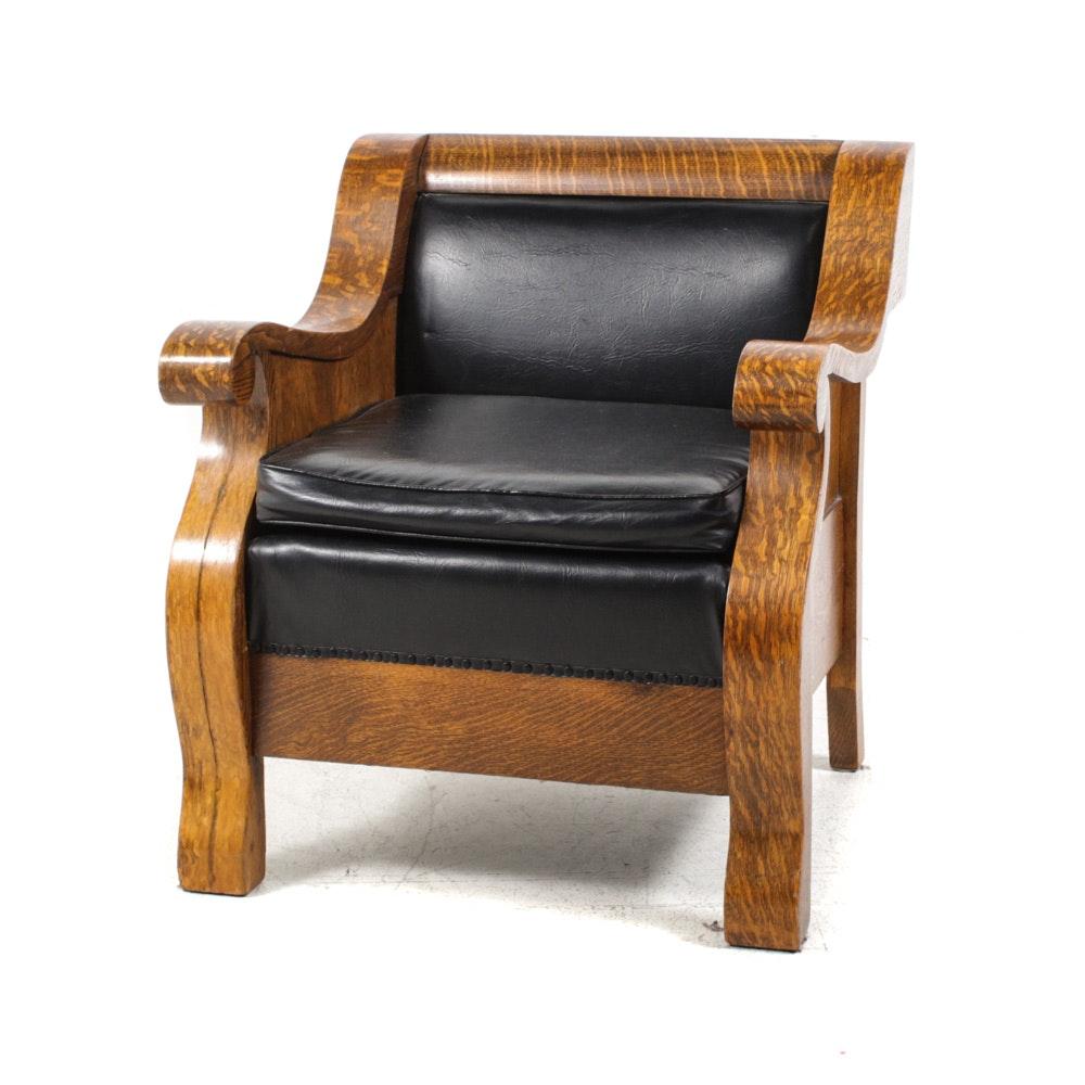 American Empire Quarter-Sawn Oak Armchair, Late 19th Century