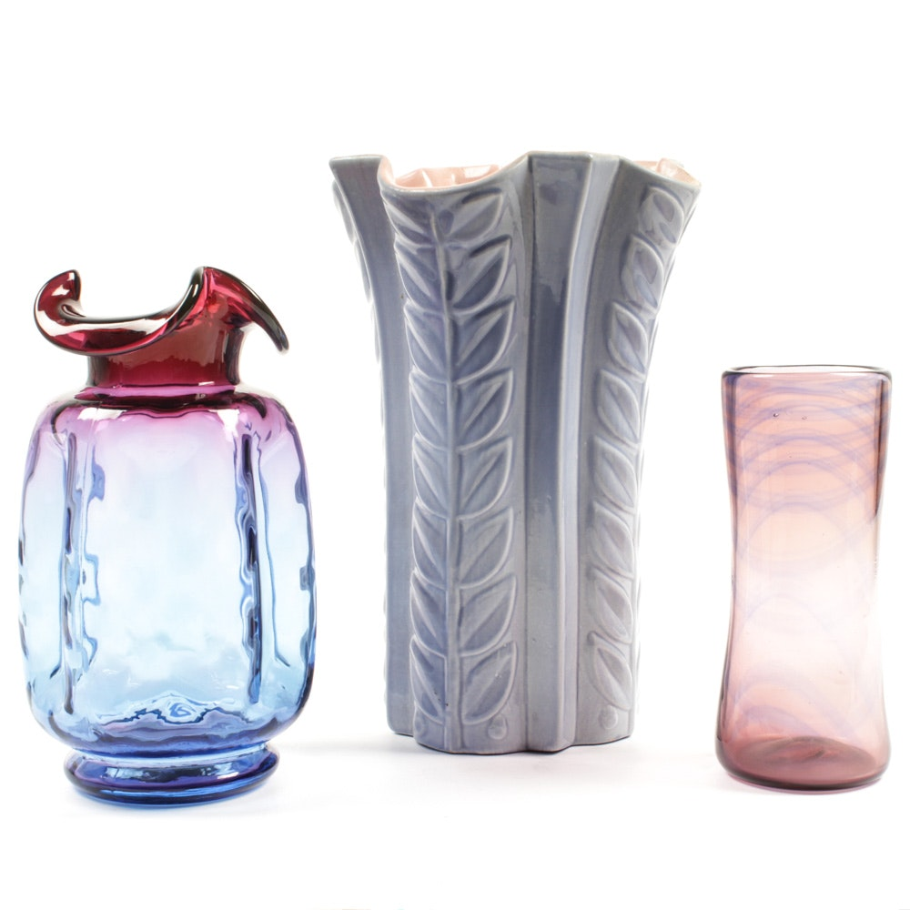 Vases Featuring Red Wing Pottery and Signed Art Glass