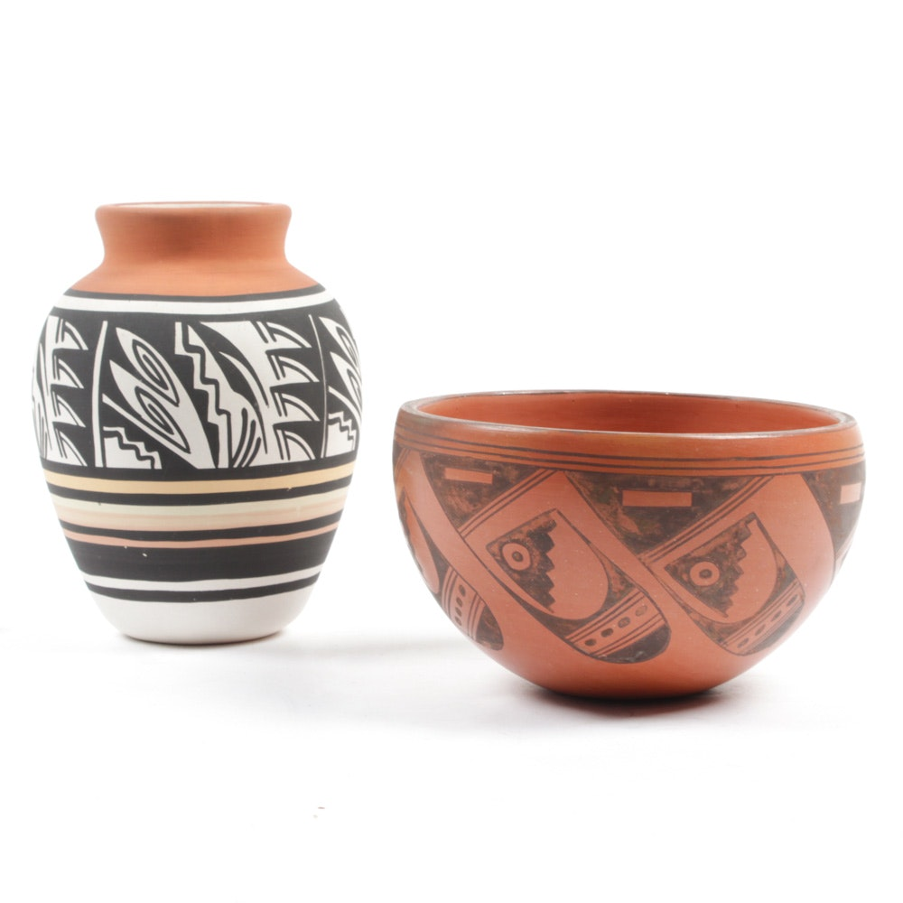 Mesa Verde Native American Polychrome Style Art Pottery Vessels