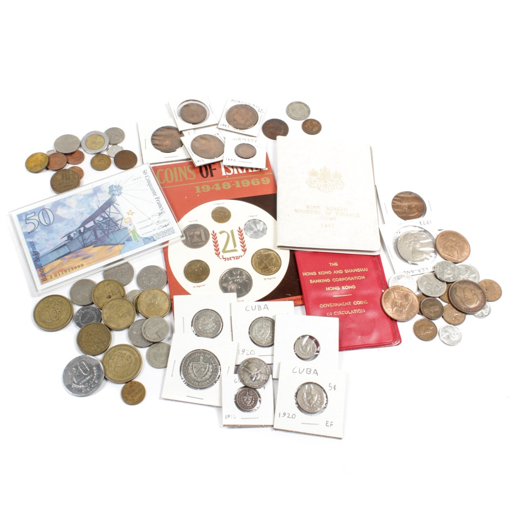 Foreign Coins and Currency Assortment