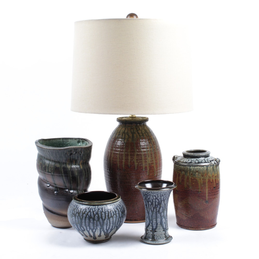Signed Art Pottery Vases and Table Lamp