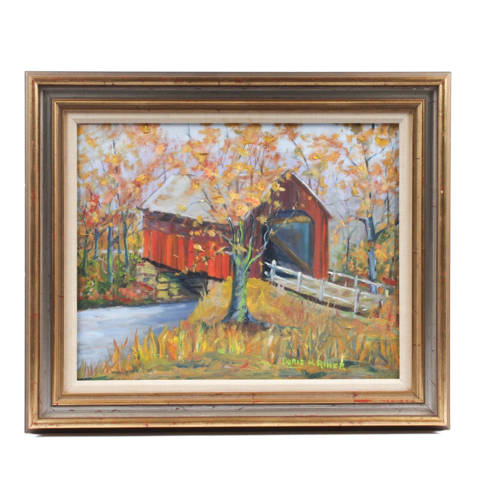 Doris Riner Oil Painting of Covered Bridge