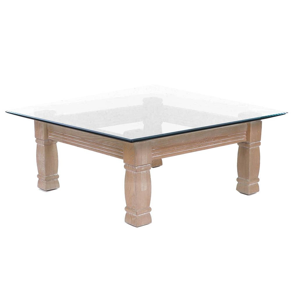 Pickled Oak Glass Top Coffee Table, 21st Century