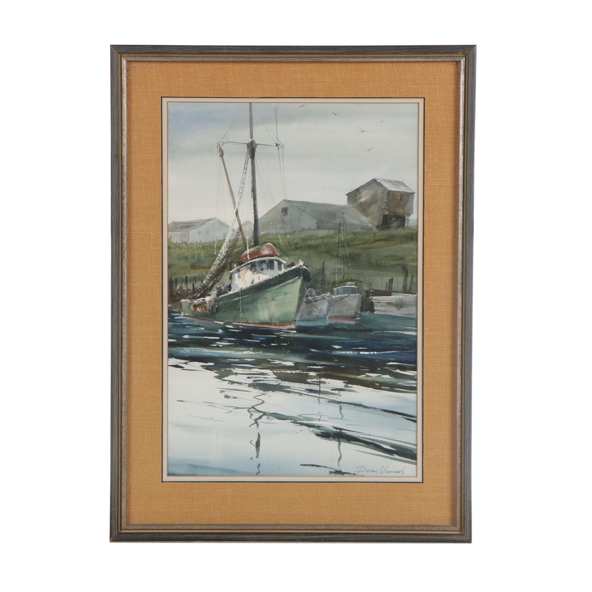 Donald Voorhees Nautical Watercolor Painting