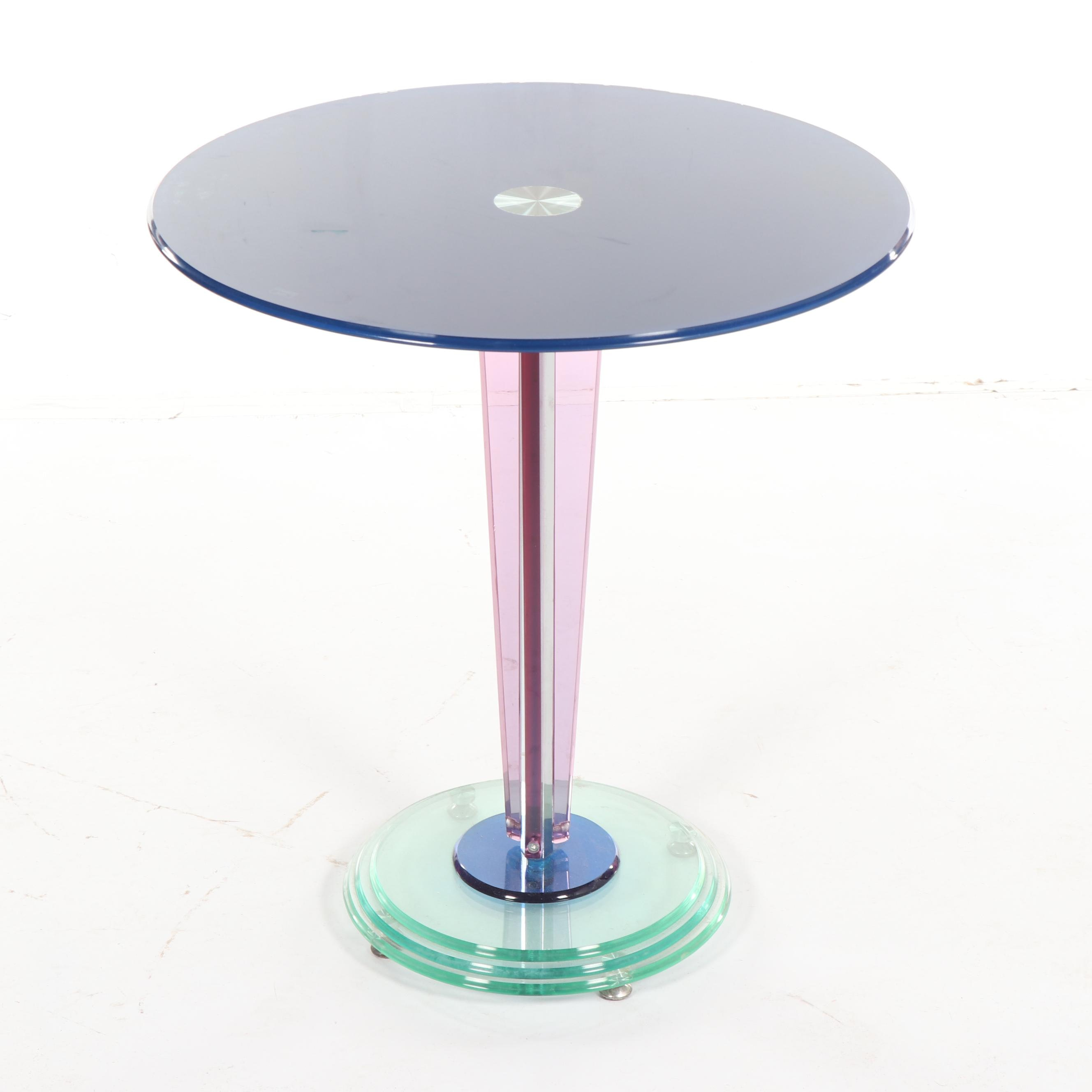 Multi-Color Glass Pedestal Side Table, 21st Century