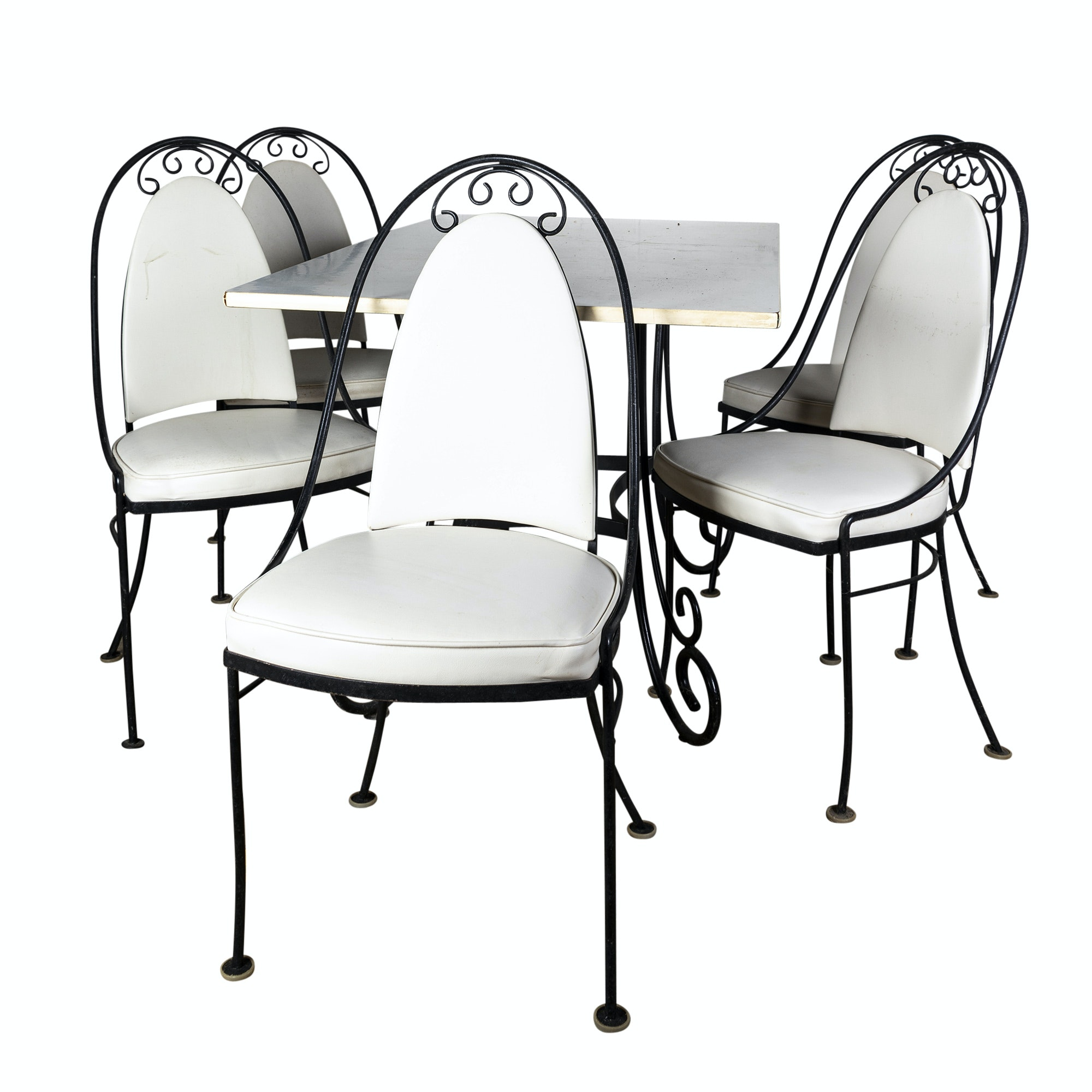 Metal Frame White Laminate Top Table with Side Chairs by Aladdin, Mid-20th C.