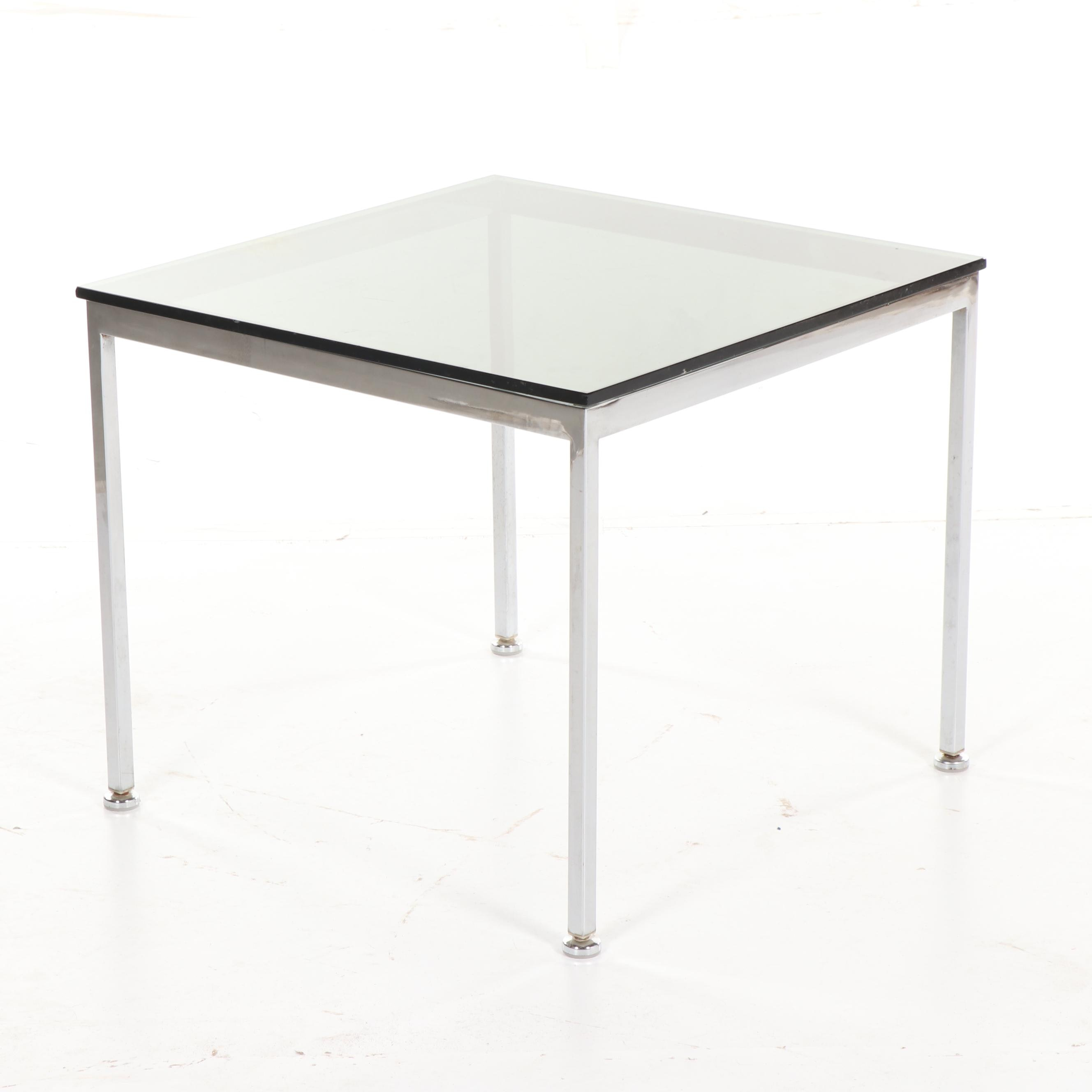 Mid Century Modern Style Smoke Glass Top Metal Side Table, 20th Century