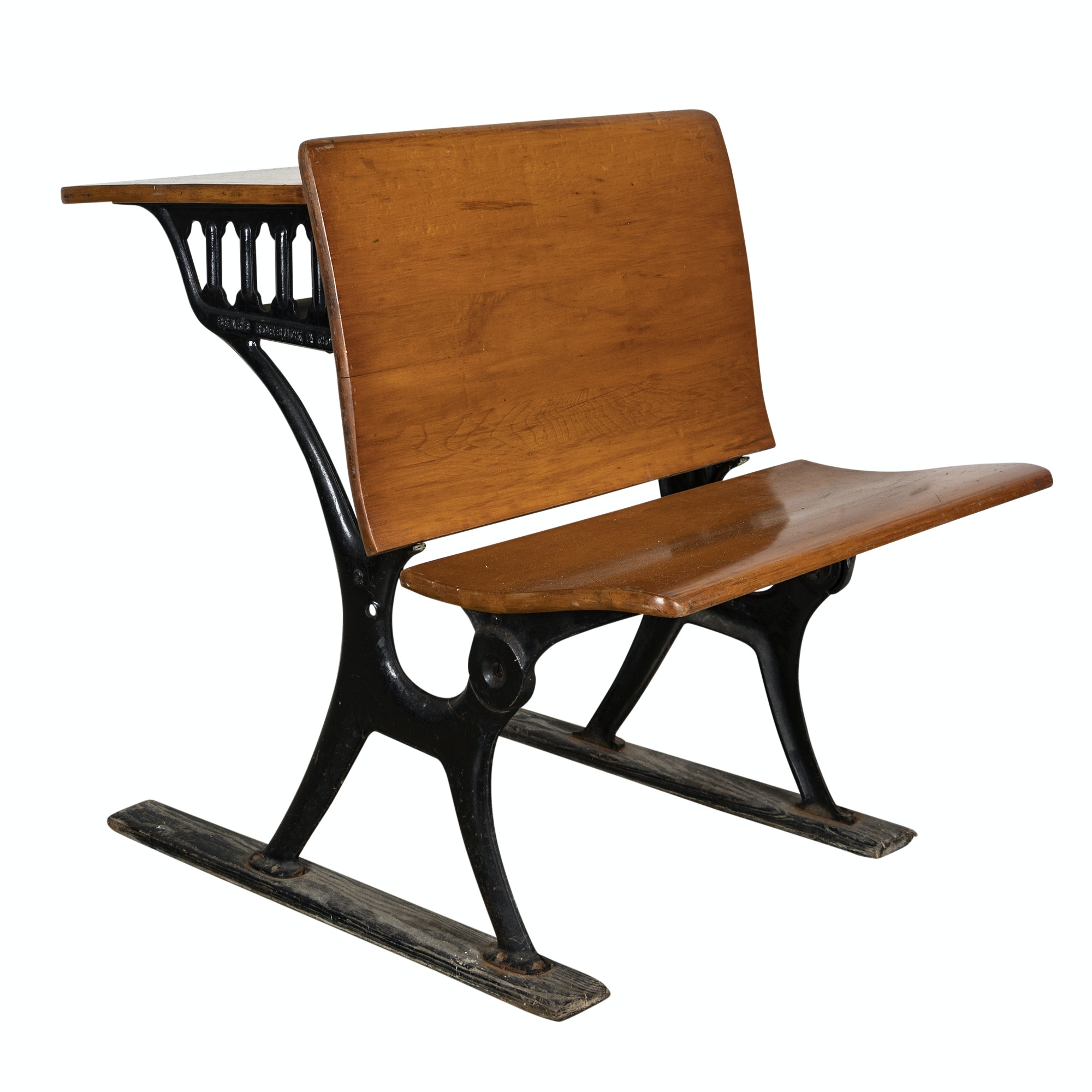 Maple and Metal Student Desk, Early 20th Century