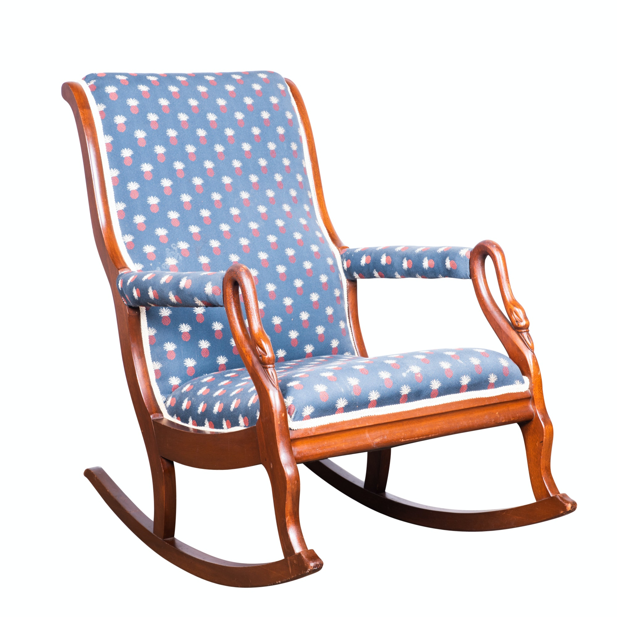 Mahogany Frame Upholstered Swan Neck Rocking Chair, Mid-20th Century
