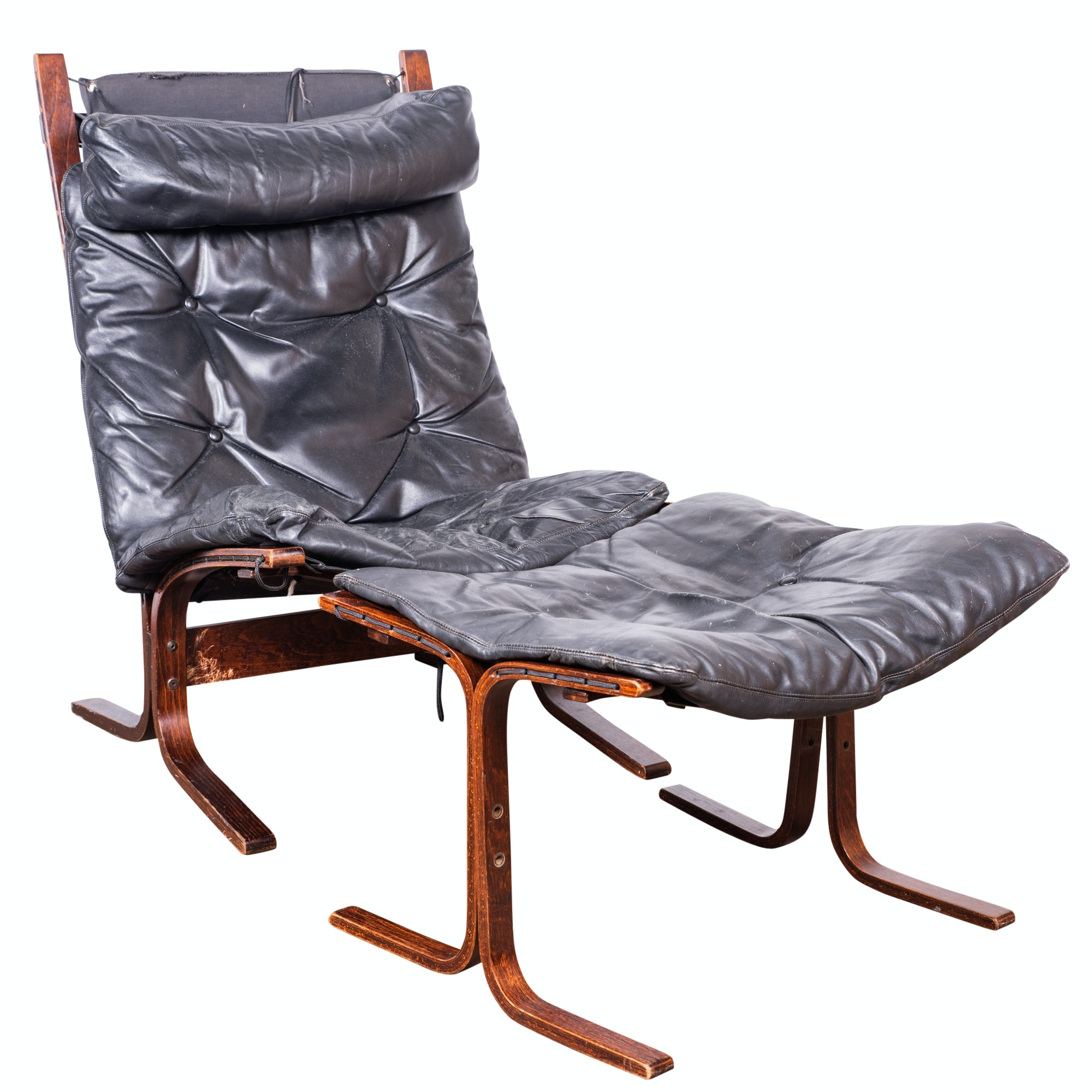 """Siesta"" Leather Upholstered Lounge Chair and Ottoman by Ingmar Relling, 20th C."
