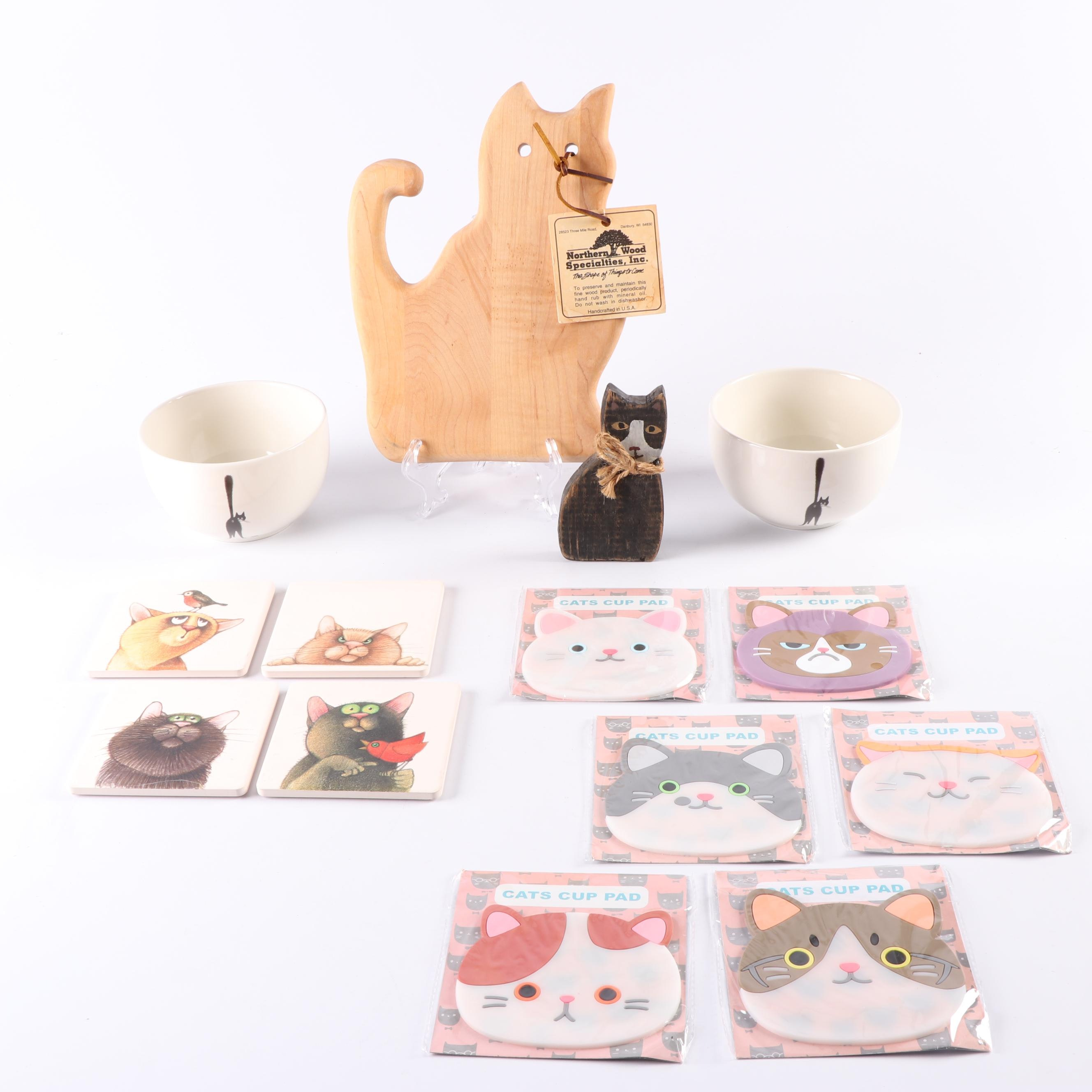 Cat Themed Coasters and Serveware featuring Dubout