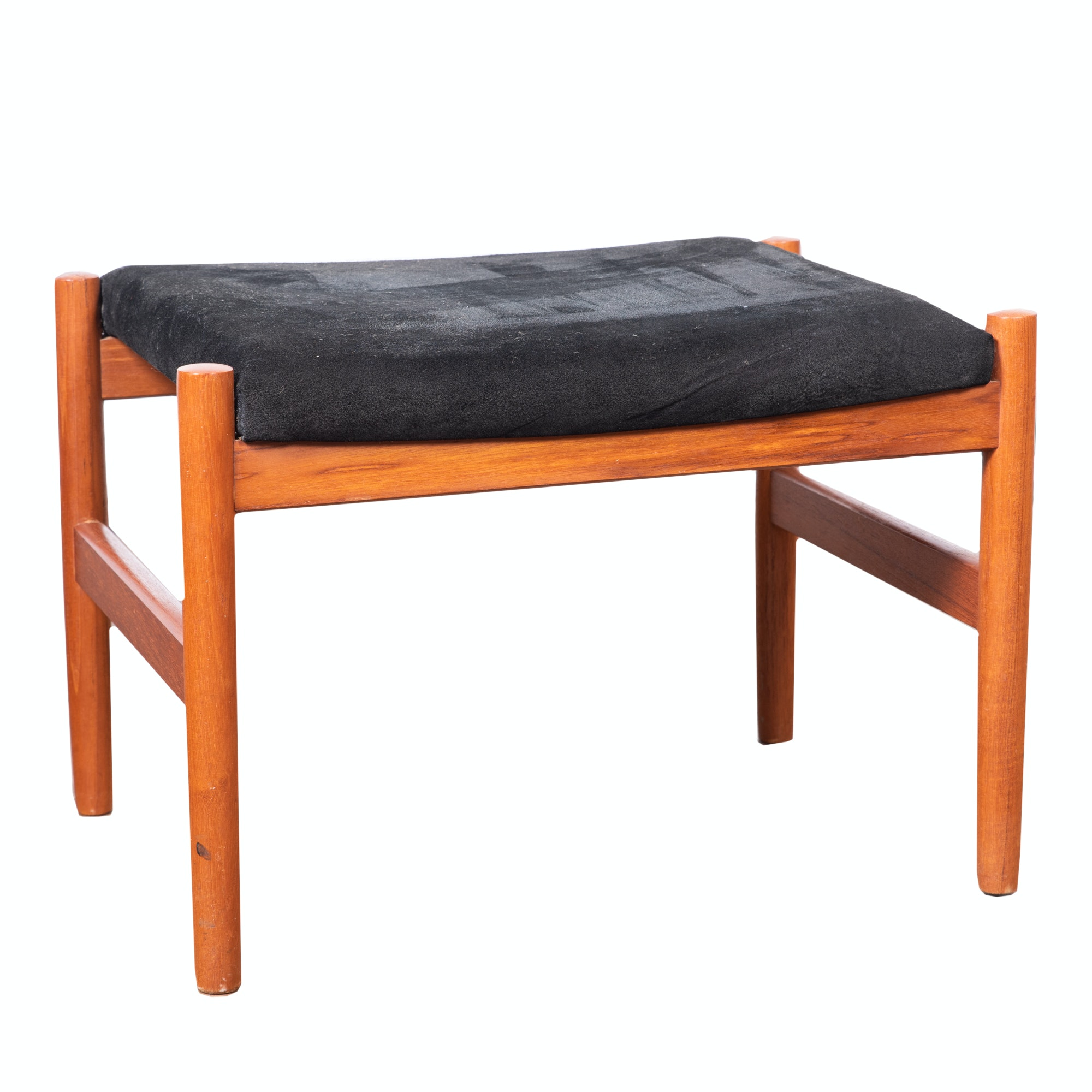 Danish Modern Style Upholstered Teak Small Ottoman, 20th Century