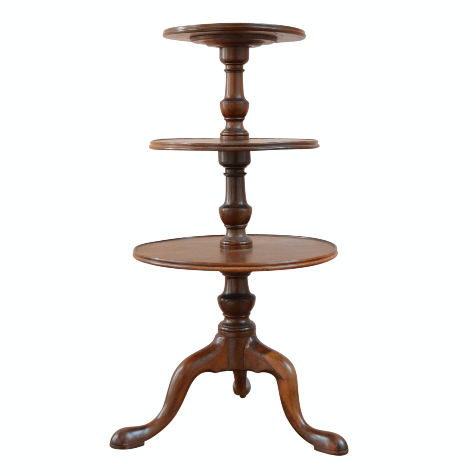 Vintage Queen Anne Style Mahogany Tiered Table