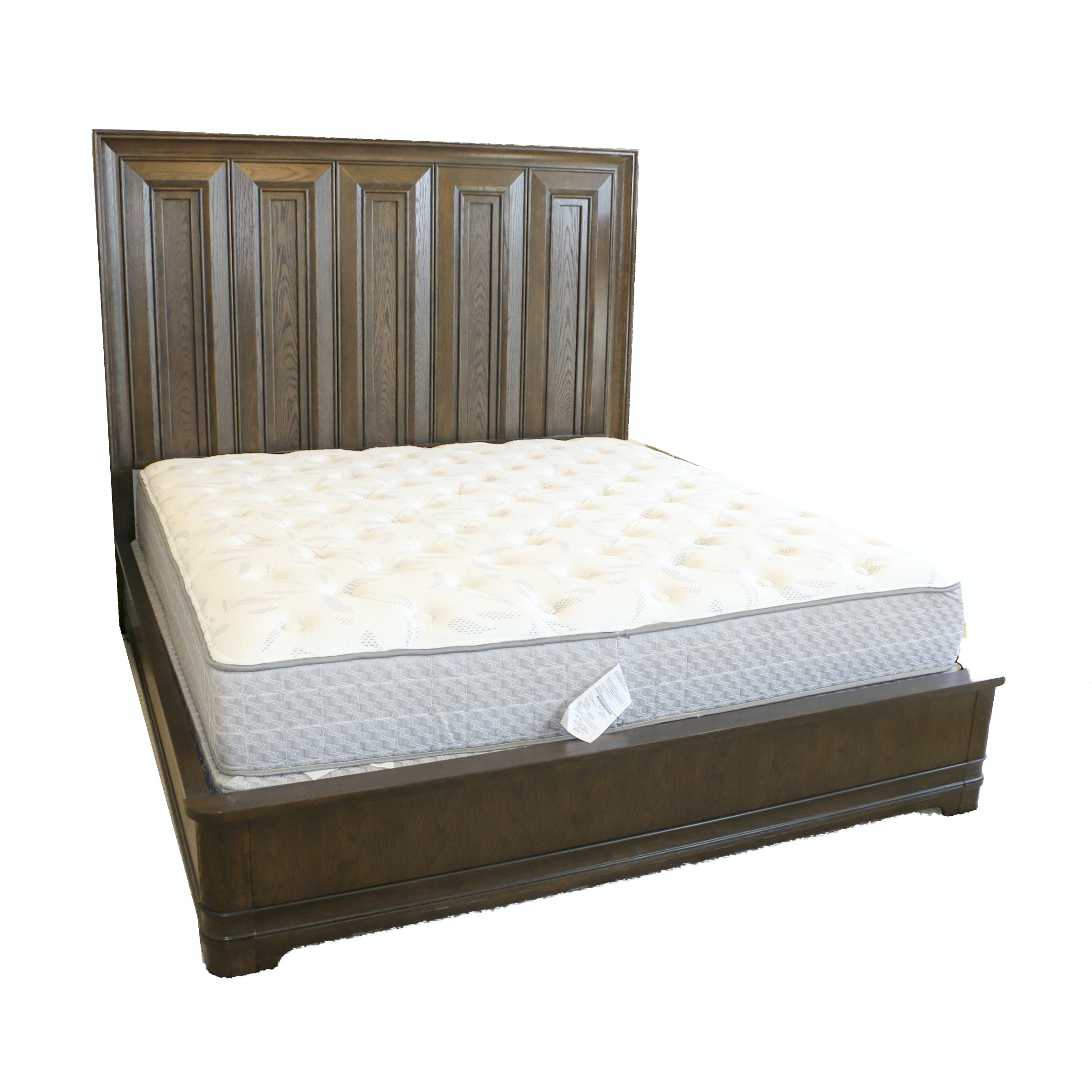 Stained Oak Panel King Size Bed Frame, Late 20th Century