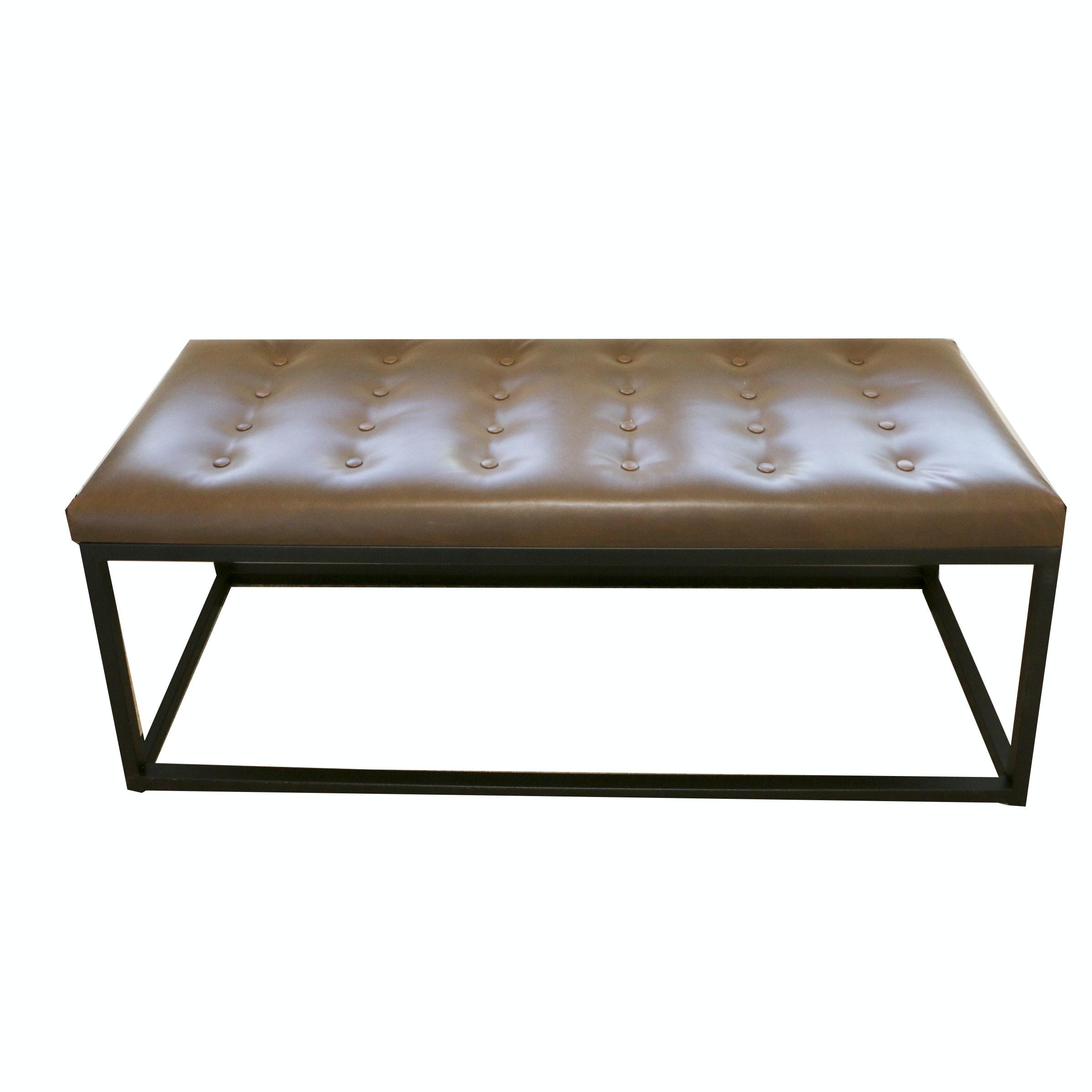 Tufted Vinyl Upholstered Metal Bench, 21st Century