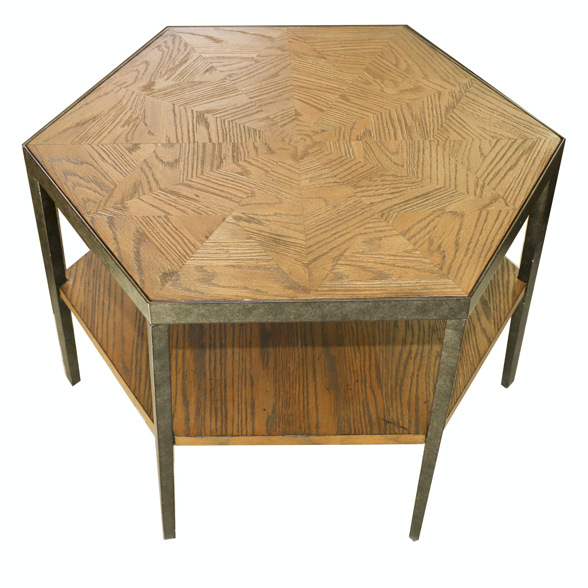 Contemporary Oak and Metal Hegaxonal End Table