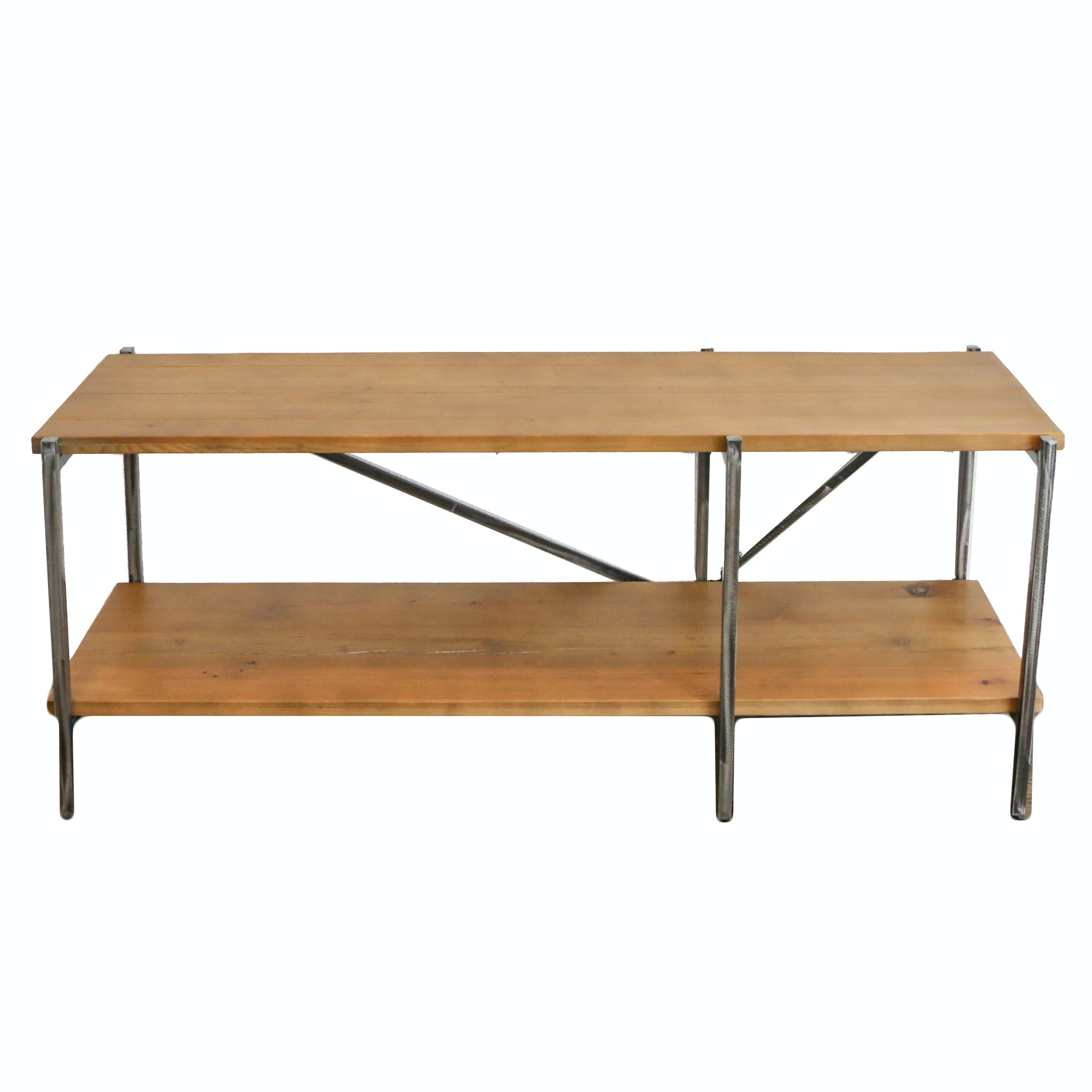 Pine and Metal Two-Tier Console Table, 21st Century