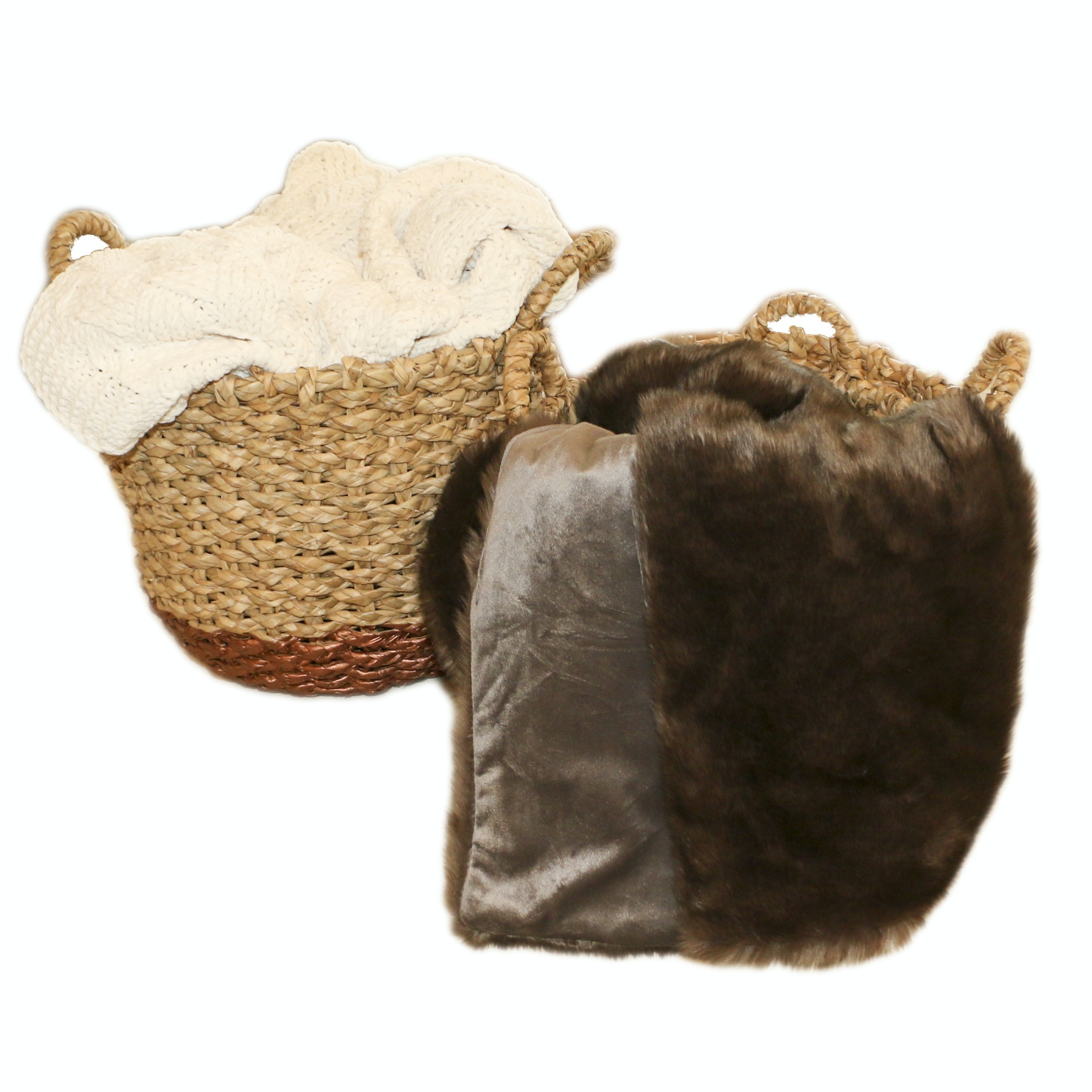 Woven Storage Baskets with Faux Mink and Knit Throws