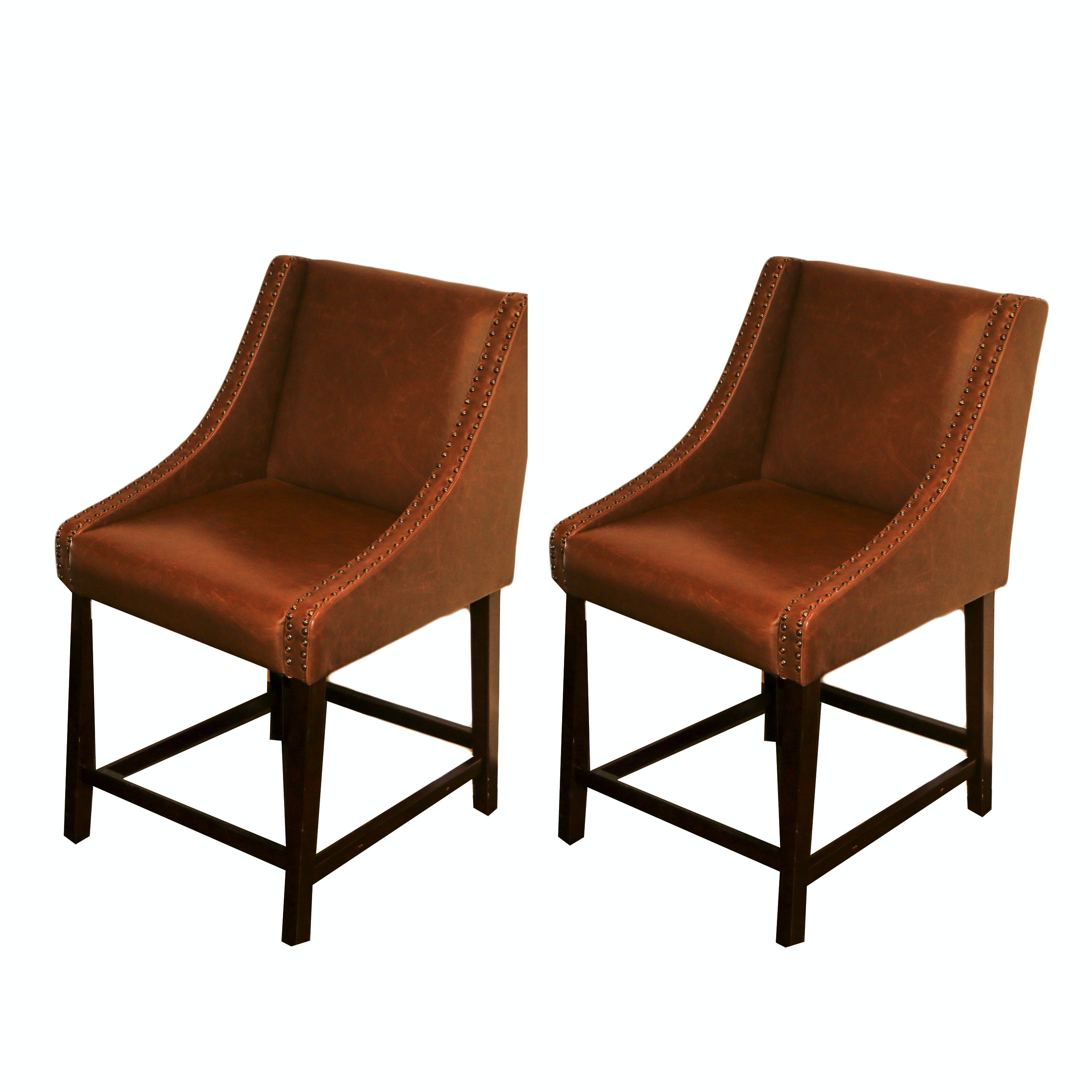 Faux Leather Upholstered Slope Arm Chair Pair, 21st Century