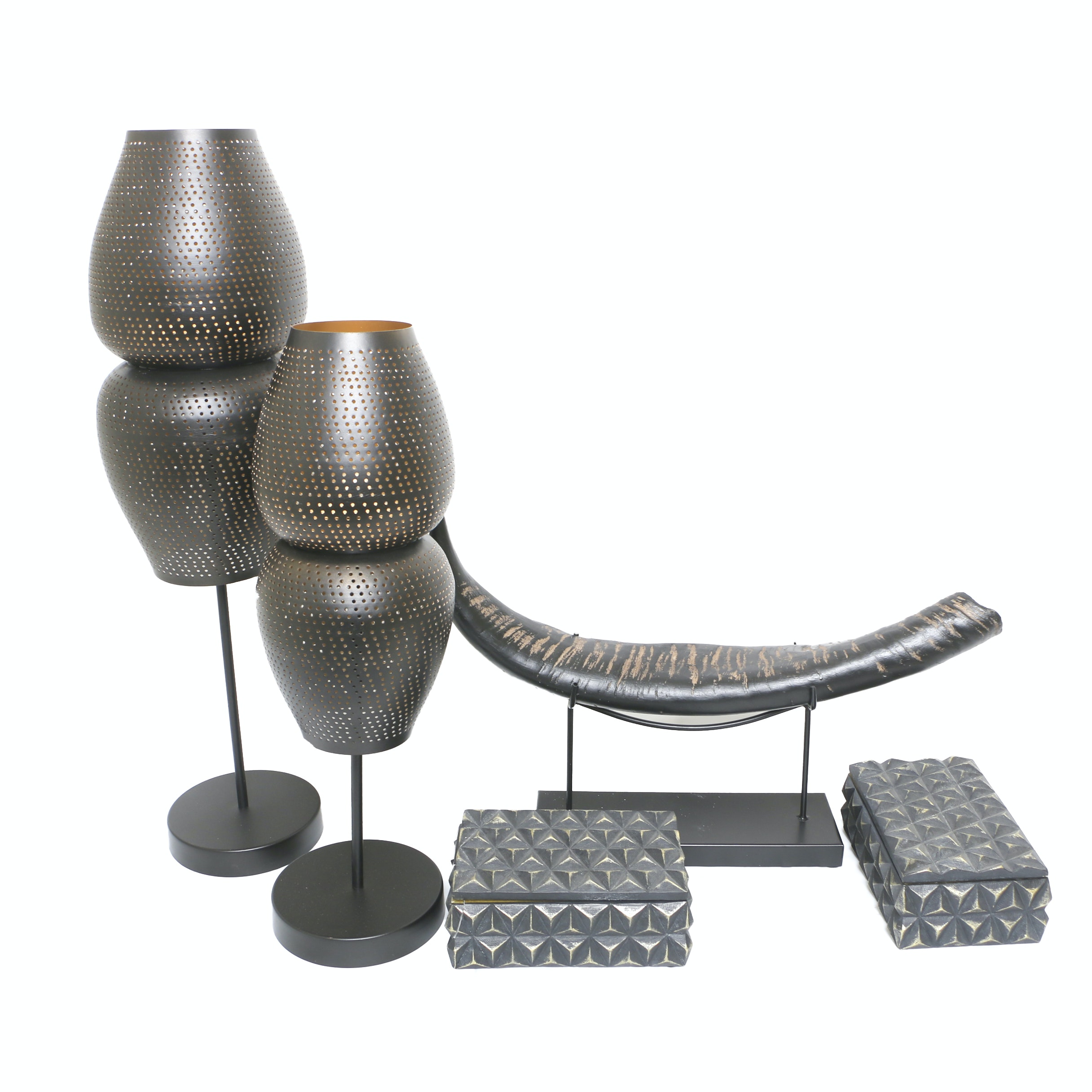 Pierced Metal Candleholders with Decorative Boxes and Faux Horn Display