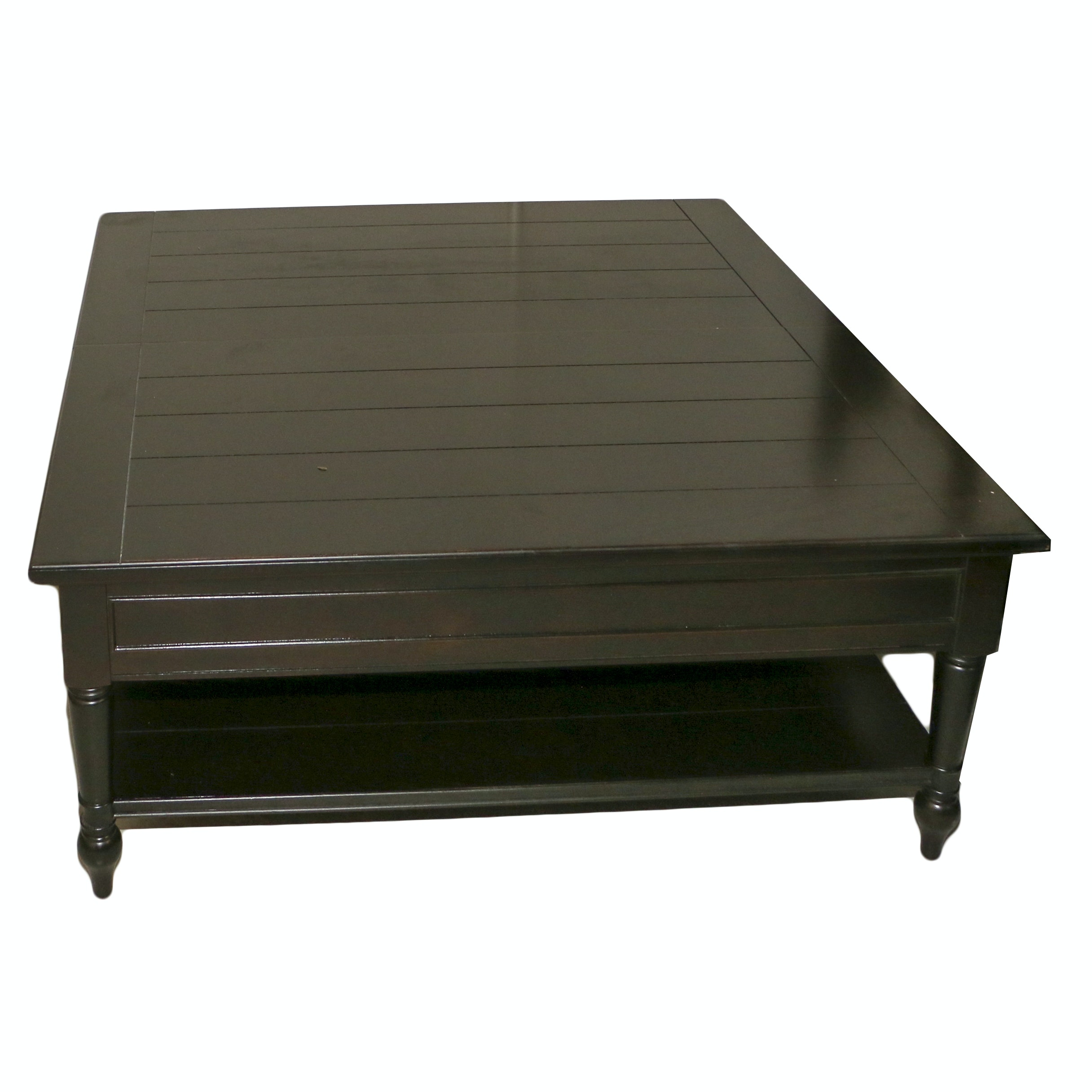 Contemporary Dark Stained Wood Two-Tier Coffee Table