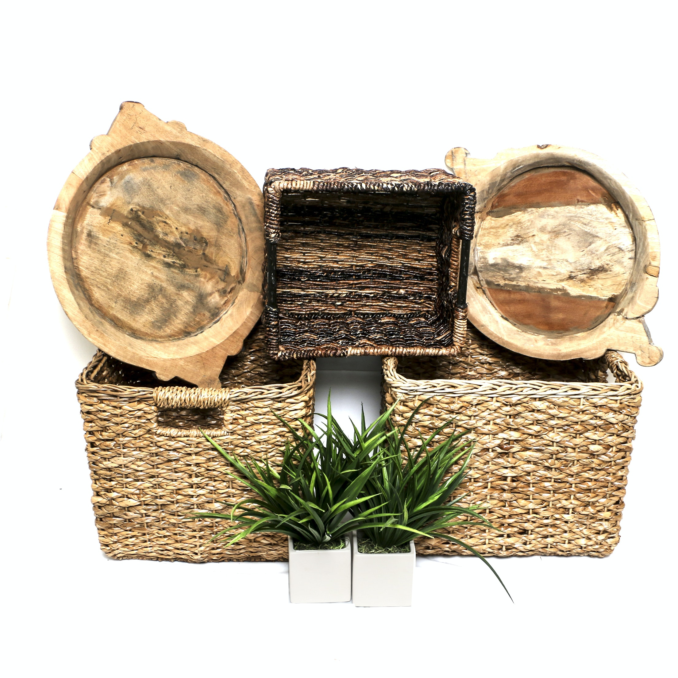 Decorative Storage Baskets, Carved Natural Wood Bowls, and Faux Plants