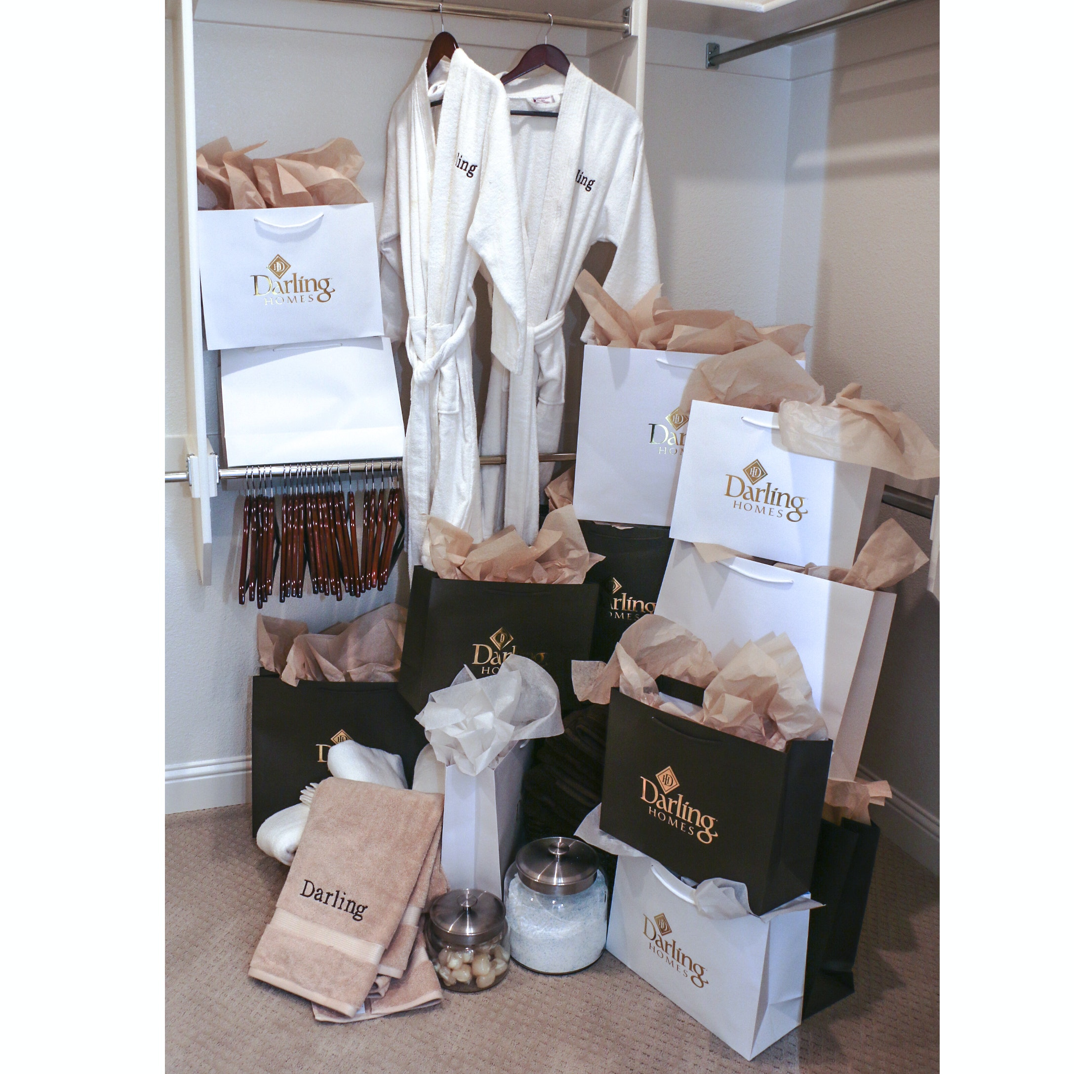 """""""Darling"""" Embroidered Bathrobes, Wooden Hangers, and Gift Bags"""